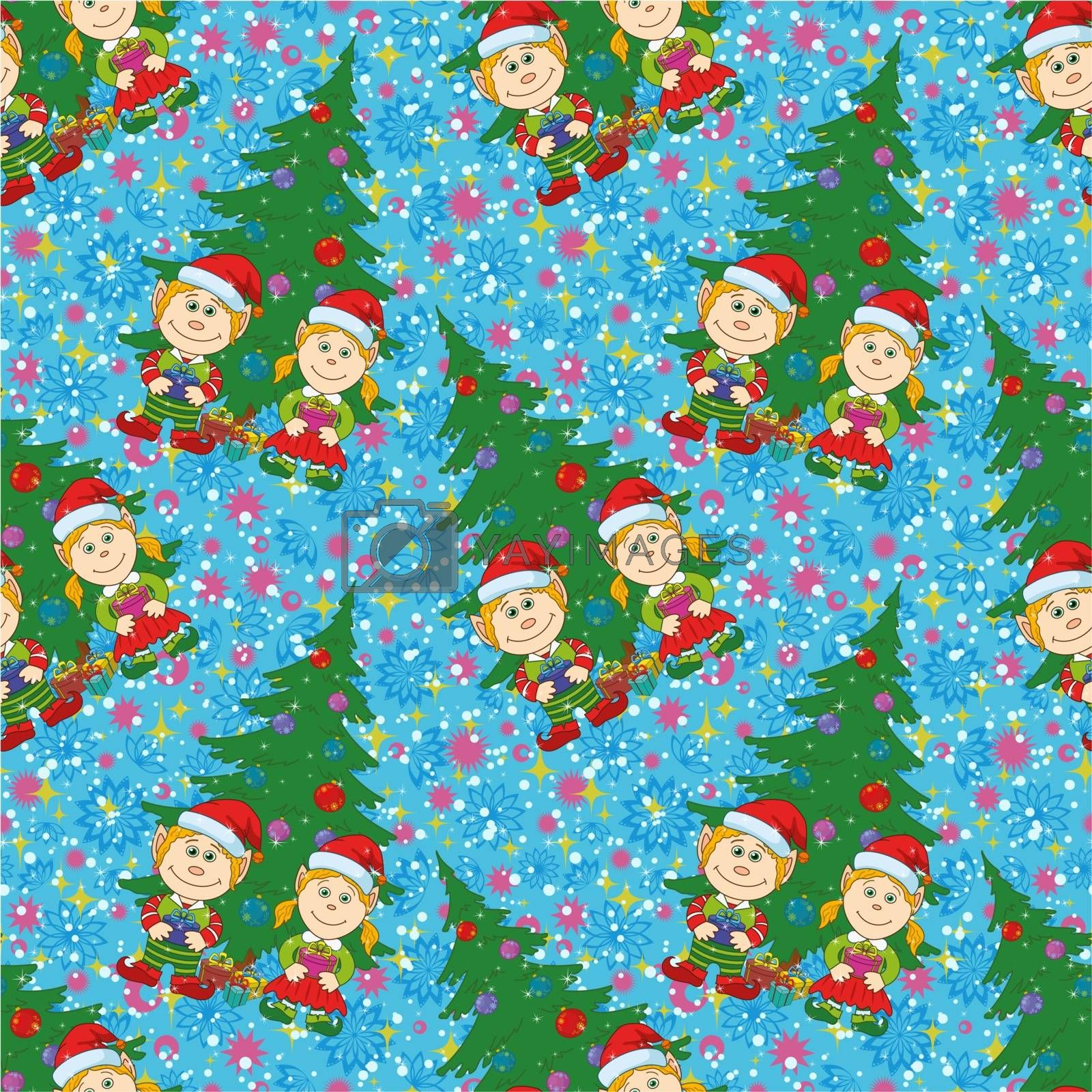 Seamless holiday Christmas background, cartoon child elves with gift boxes near fir tree. Vector