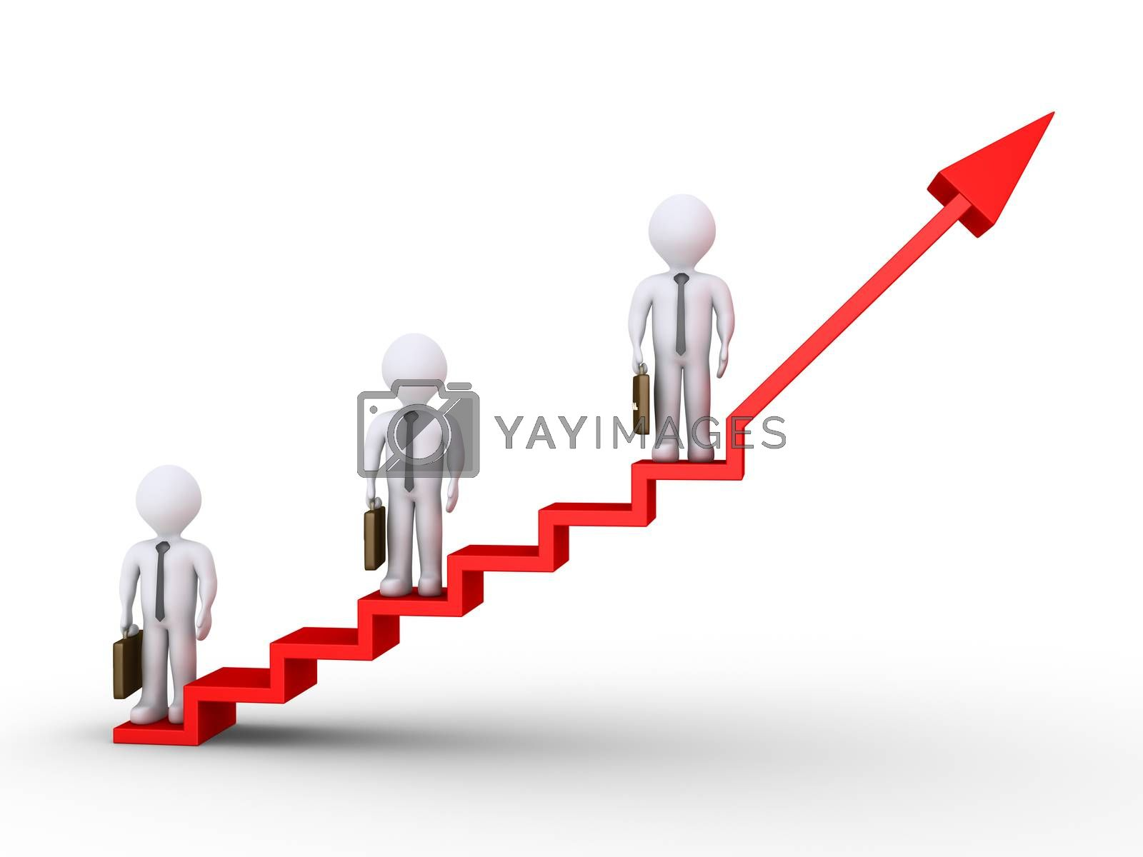 3d businessmen standing on different heights of graphic chart with stairs