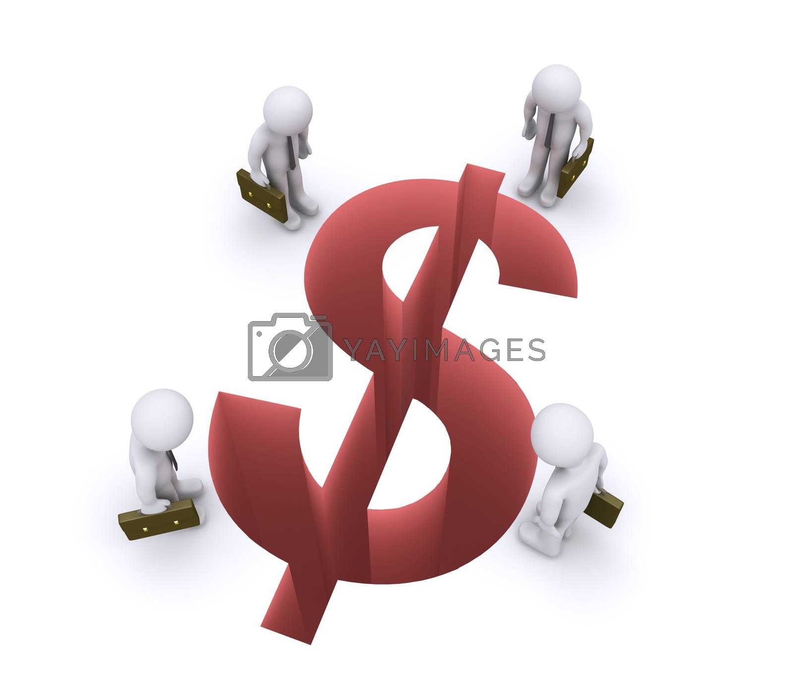 3d businessmen are looking down at a dollar shaped gap