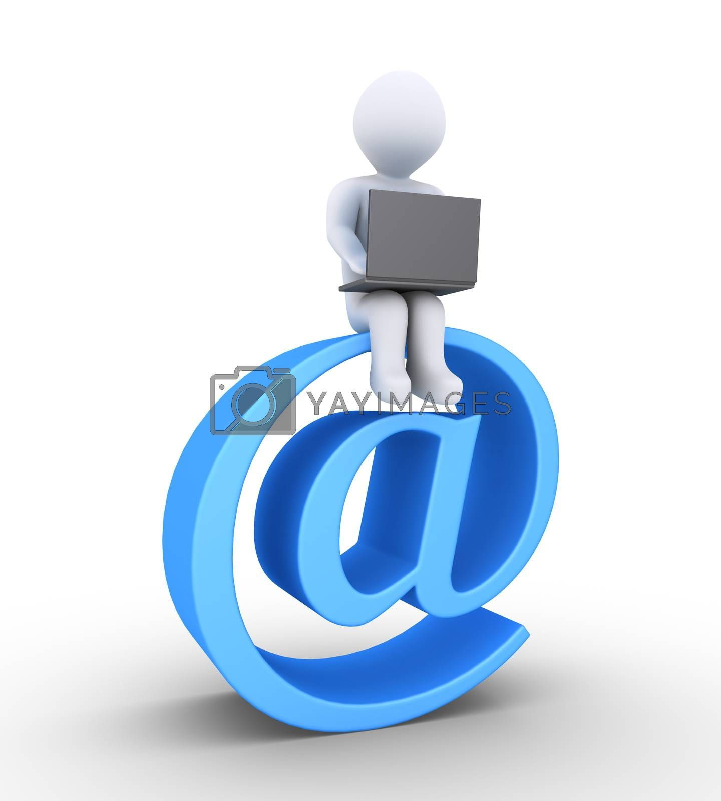 3d person using a laptop is sitting on an e-mail symbol