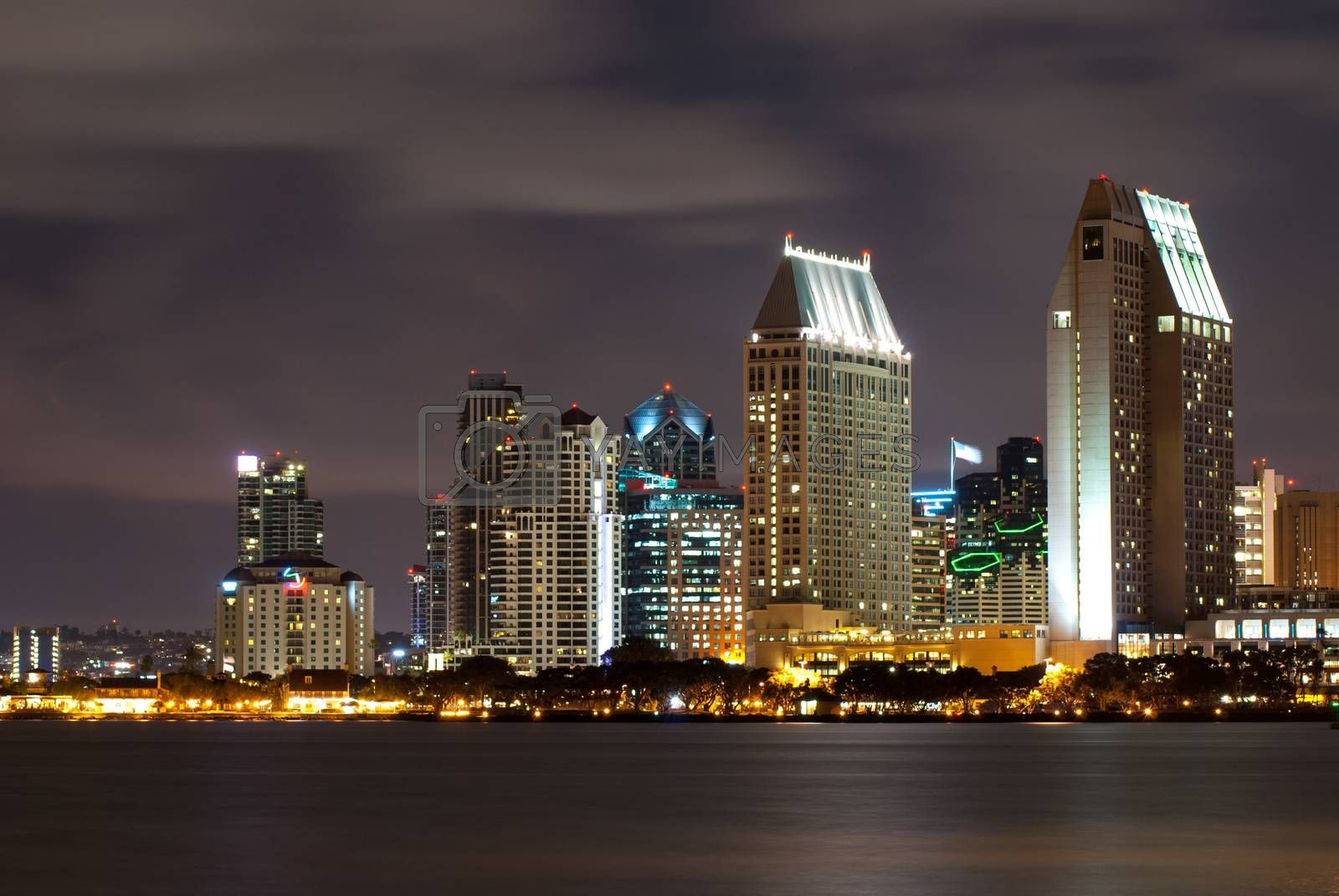San Diego Cityscape at Night, with clouds