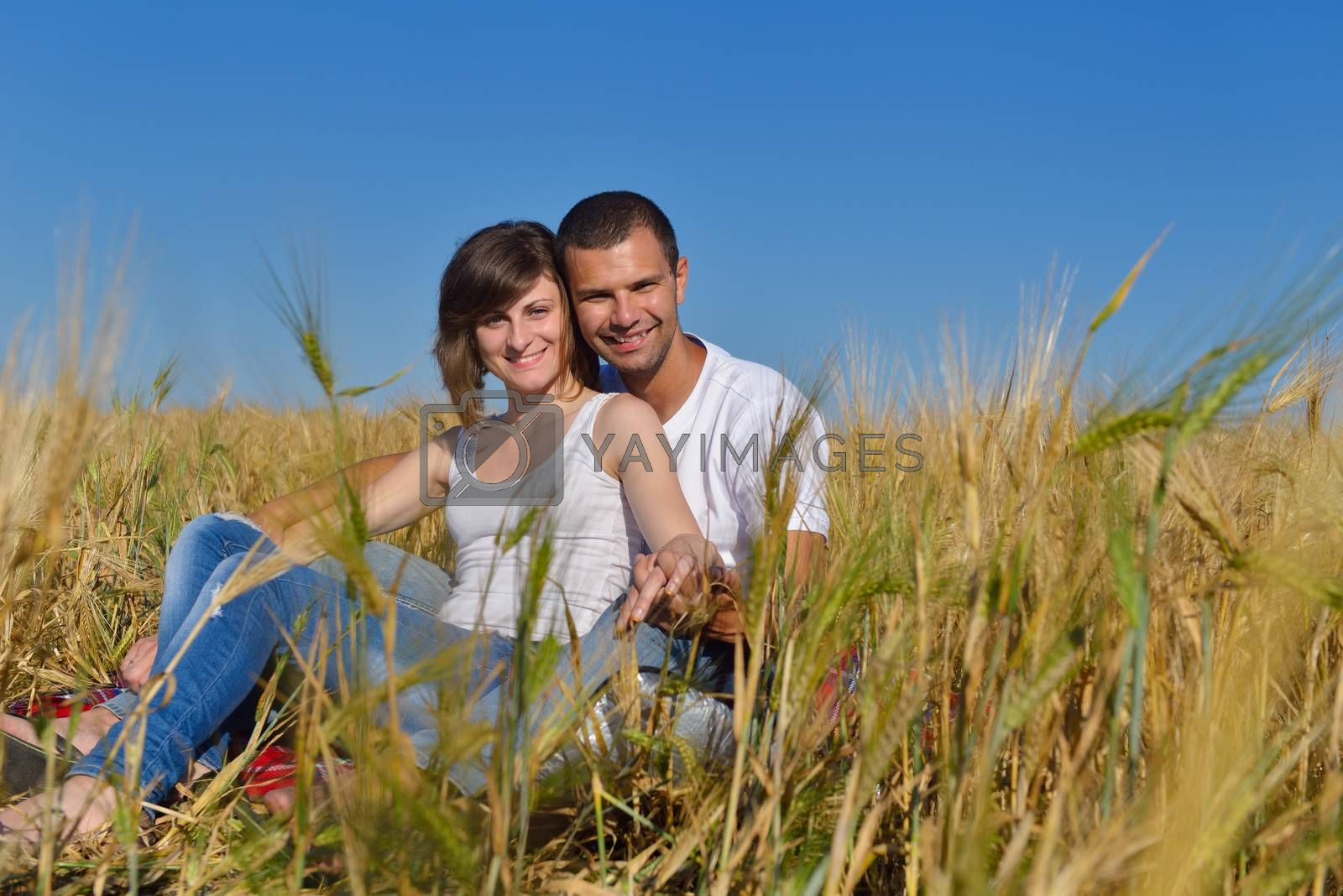 happy couple in wheat field by .shock