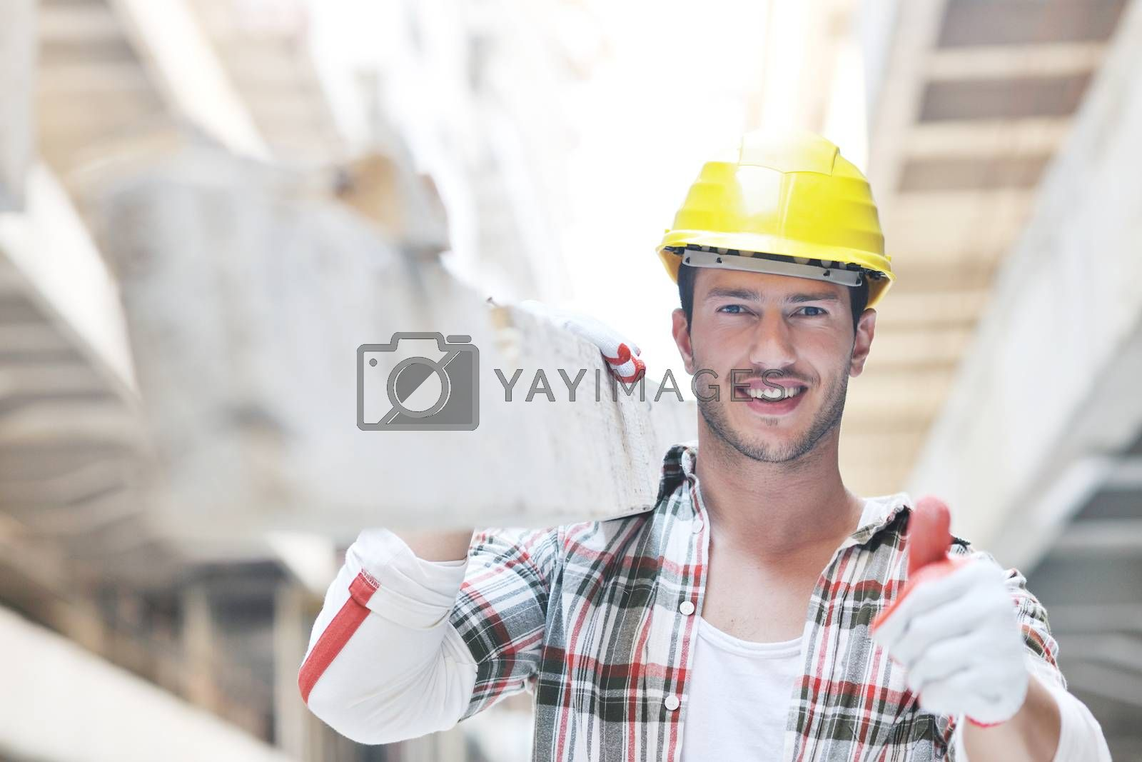 handsome hard worker people portrait at concstuction site