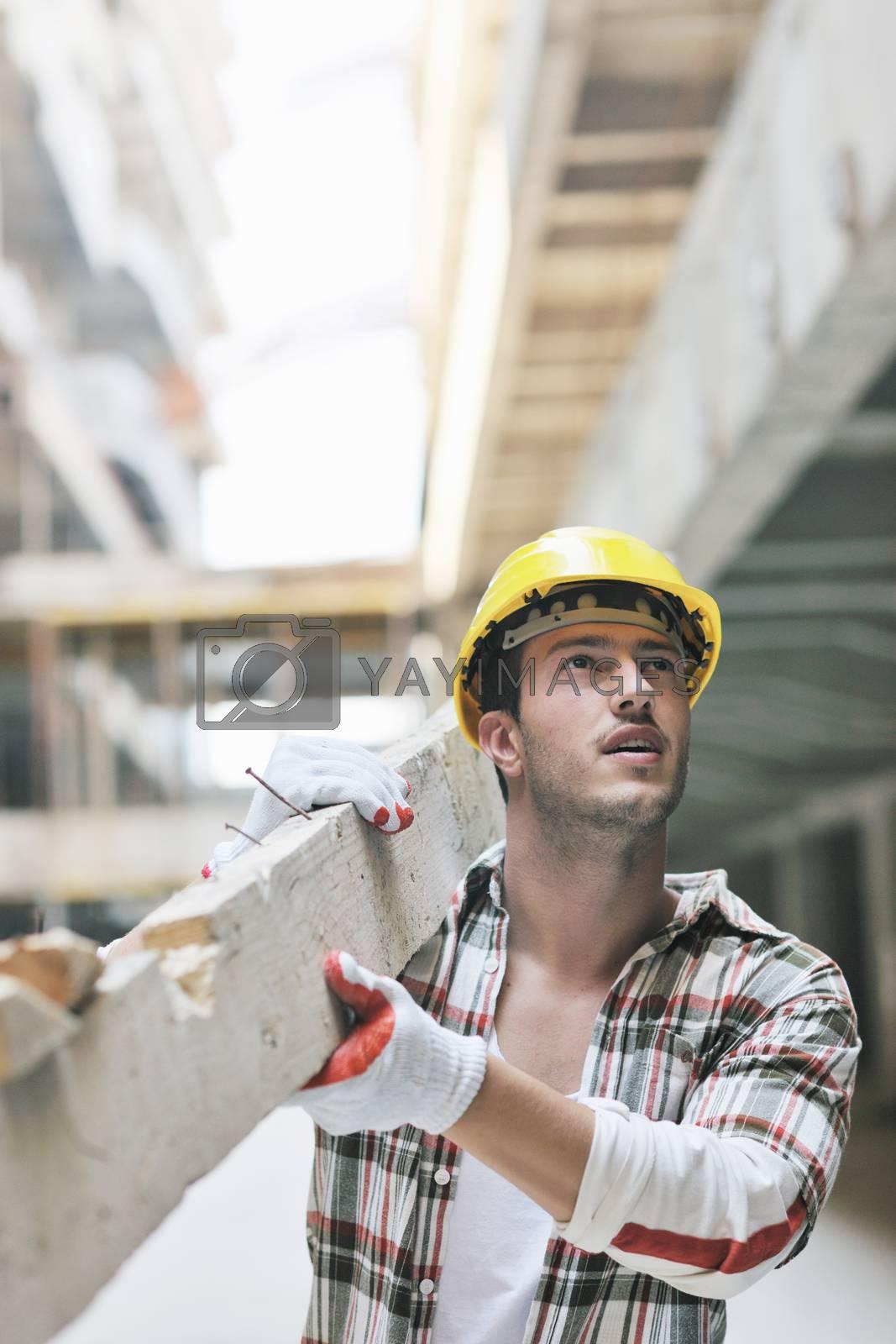 handsome hard worker people portrait at concstruction site