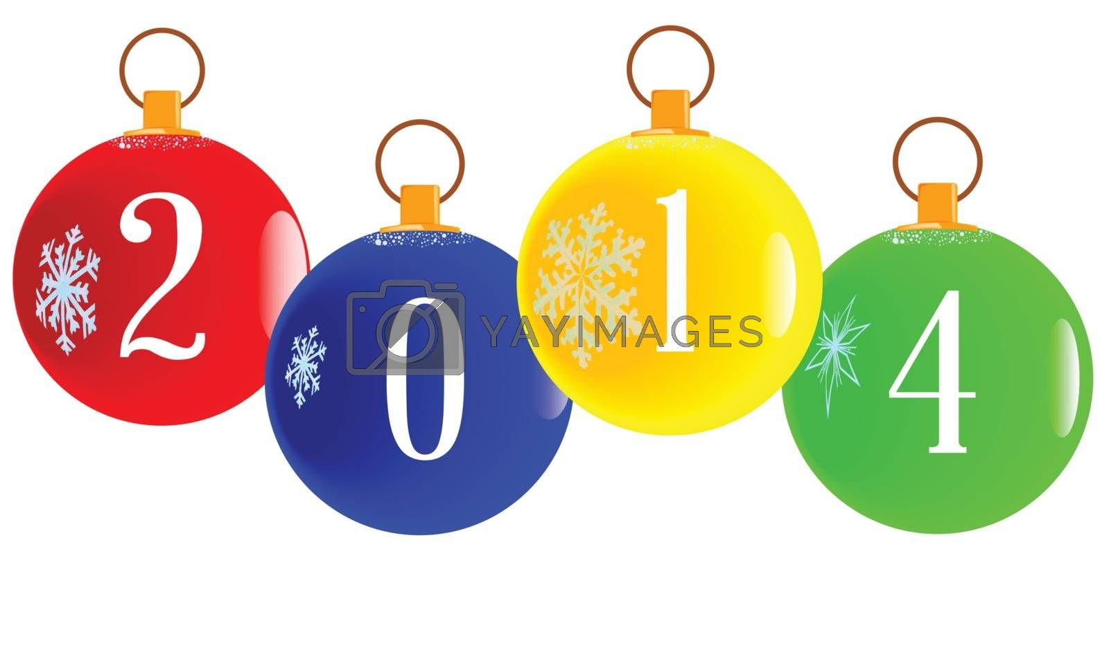 A red christmas decorative ball with the letters 2014