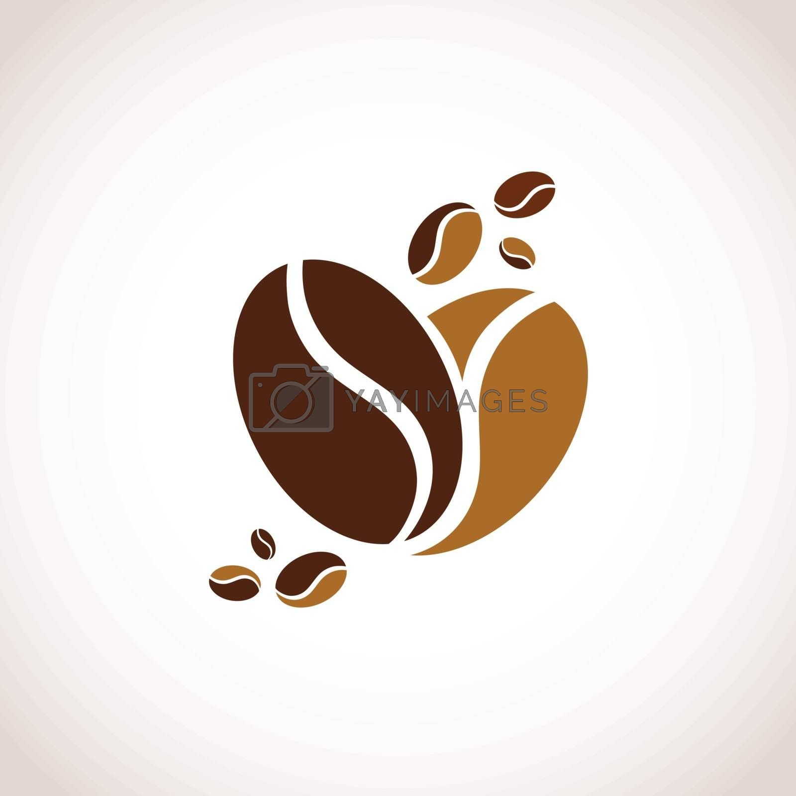 Illustration of Abstract Coffee Heart Symbol