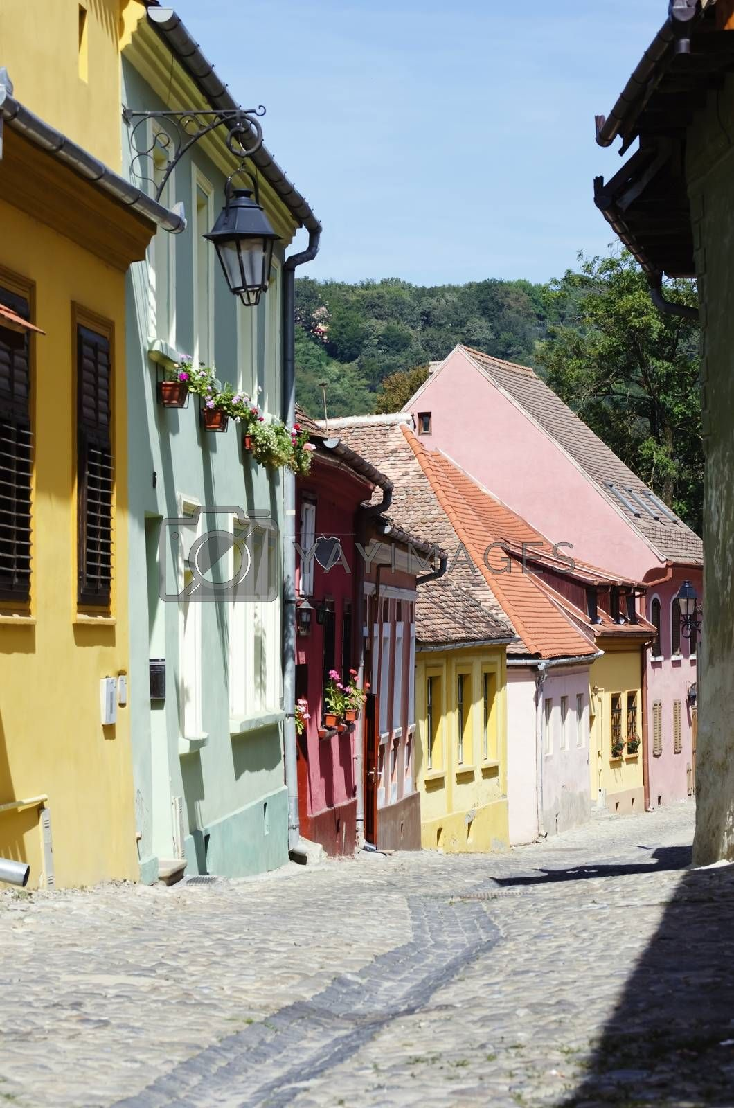 Medieval Town Sighisoara in Romania,Transylvania - September 2014: one of the few still inhabited citadels in Europe, UNESCO World Heritage Site