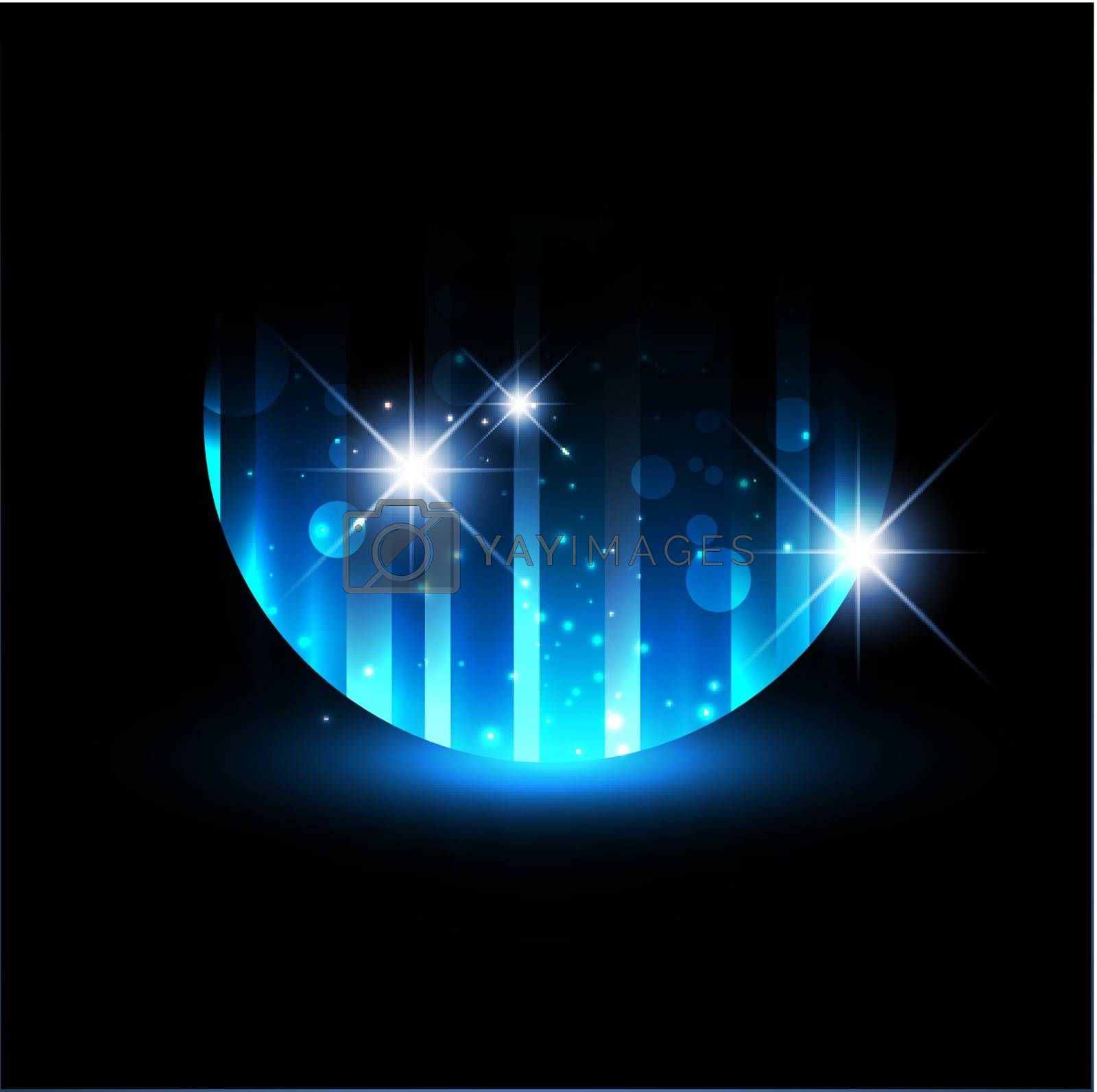 Abstract Night Background With Stars And Bright Blue Light
