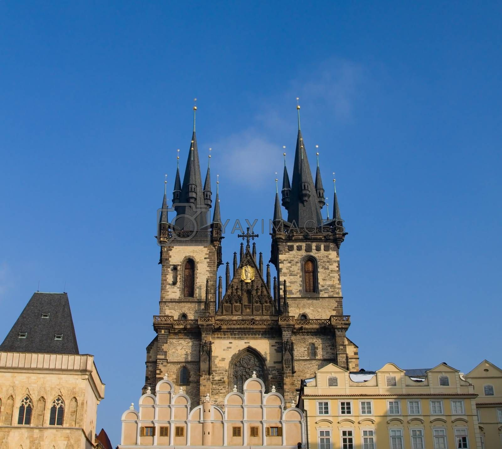 Photo shows the main view onto the Church of Our Lady before Tyn in Prague, Czech republic.