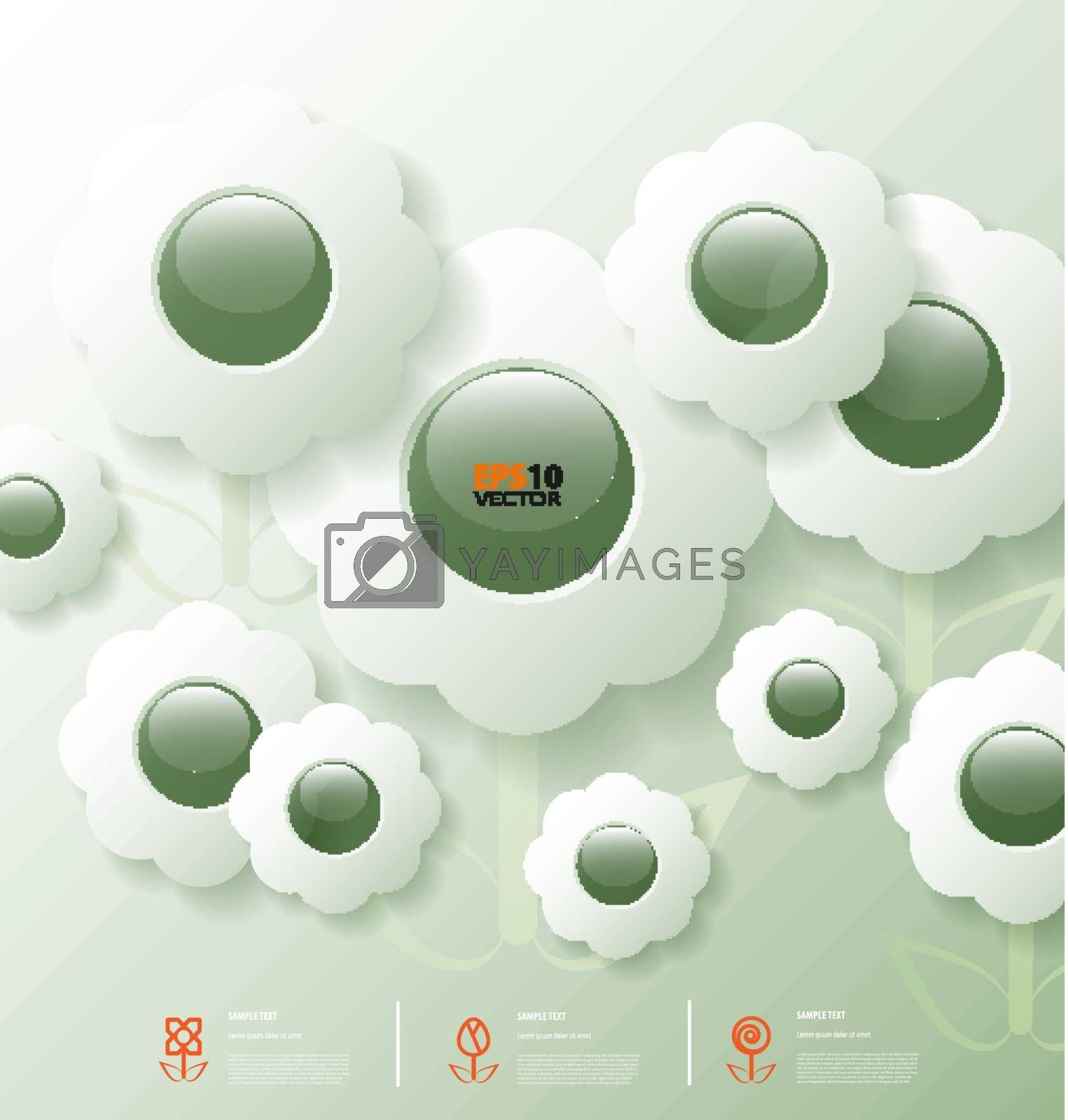 Stylized infographic template with flower bubbles for data communication