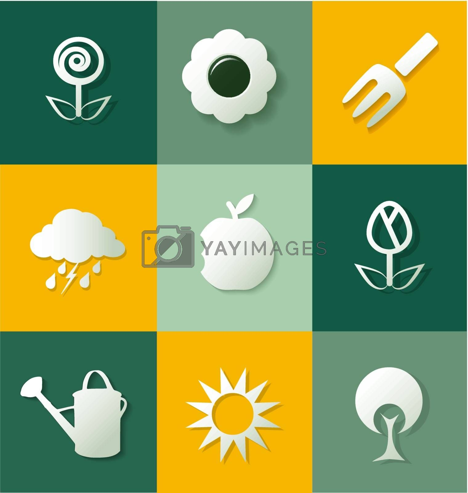Set of gardening flat icons for creative design tasks