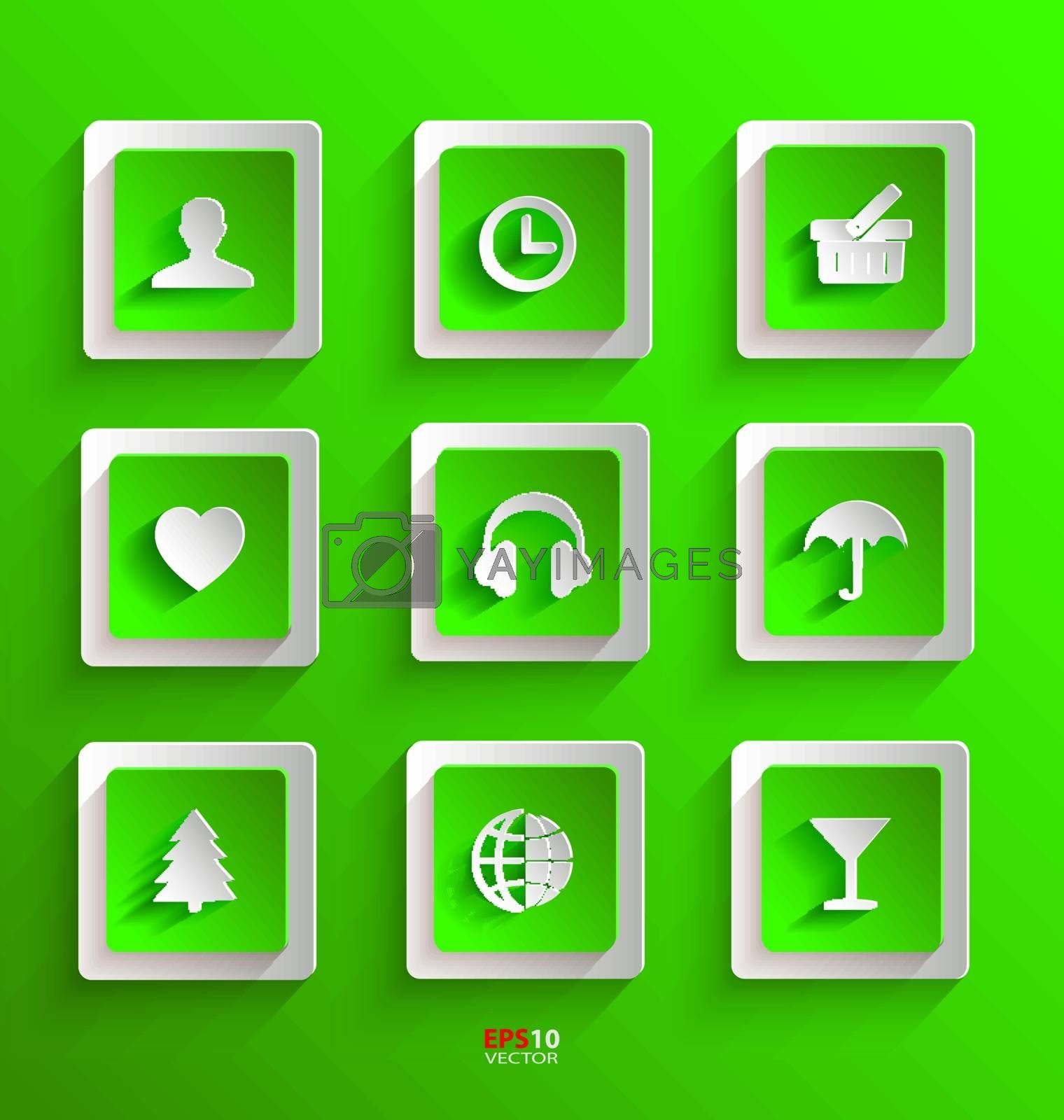 Set of flat paper icons for design needs