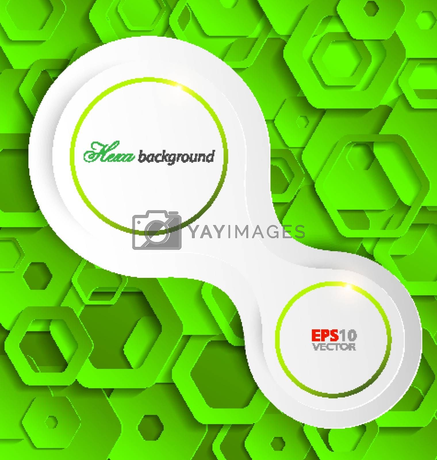Green abstract paper template for creative design