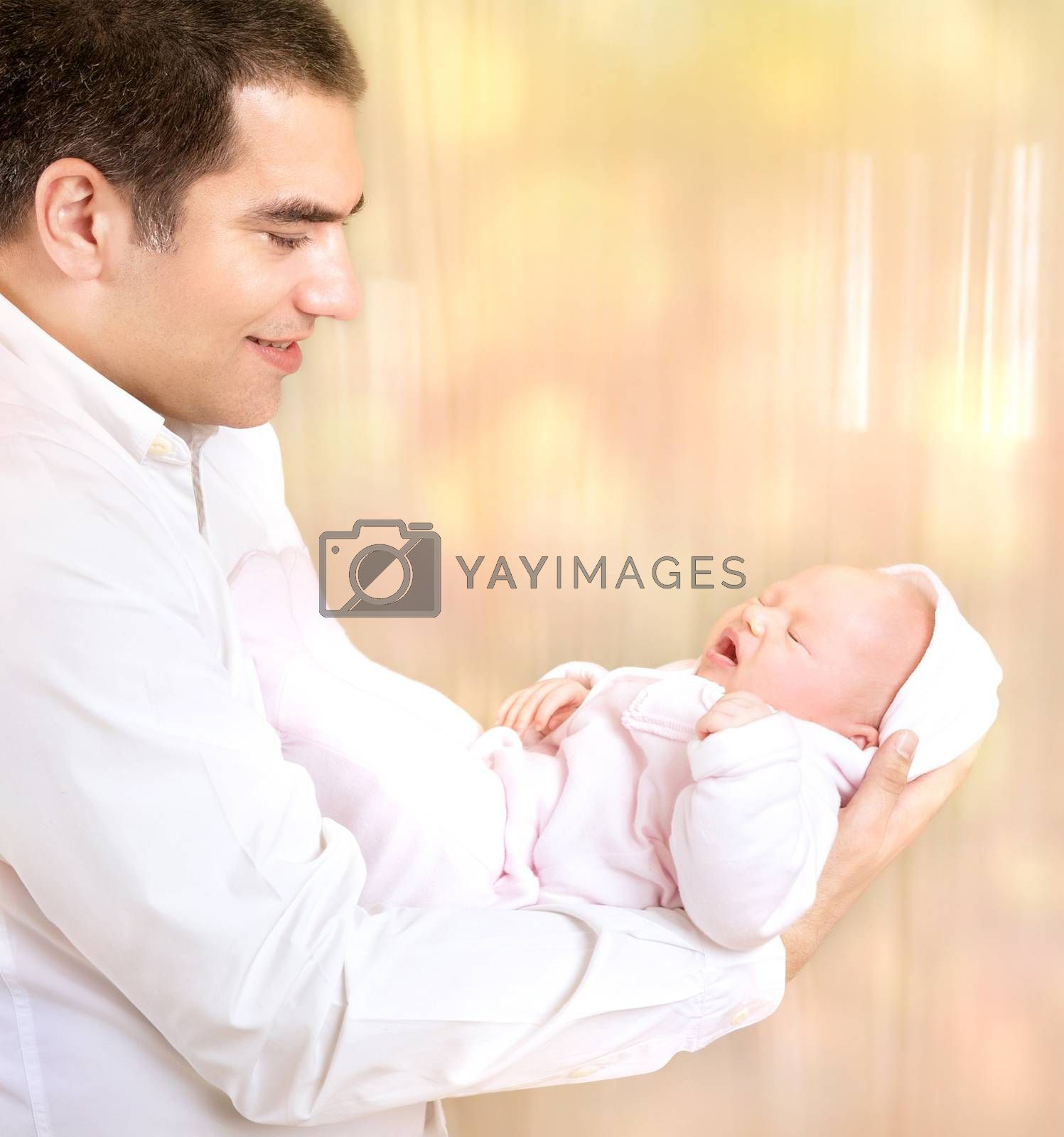 Happy father with newborn daughter by Anna_Omelchenko