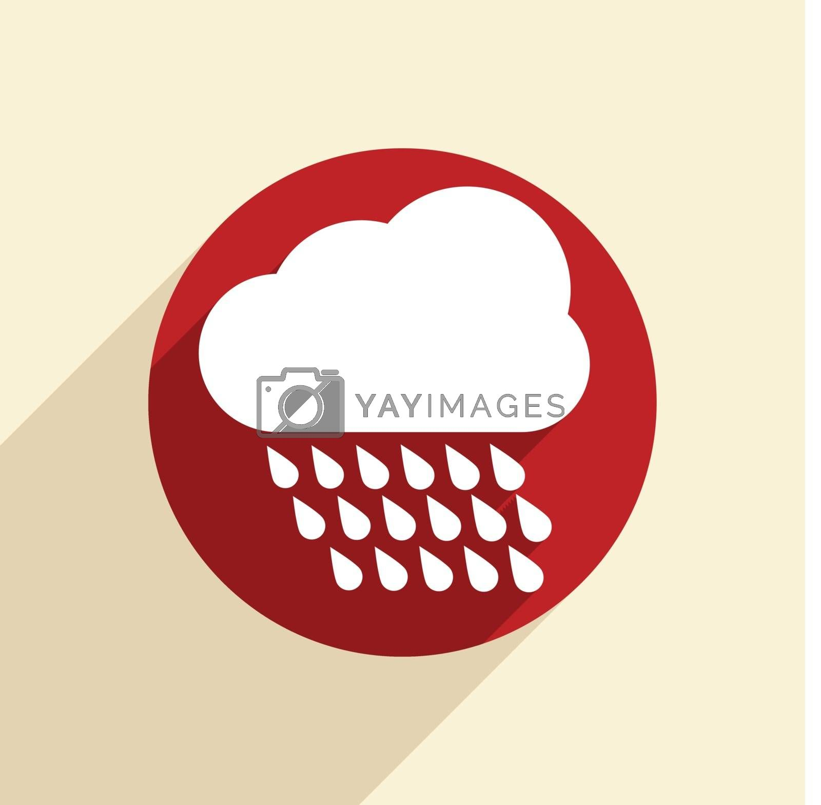 cloud rain with wind.  the weather icon