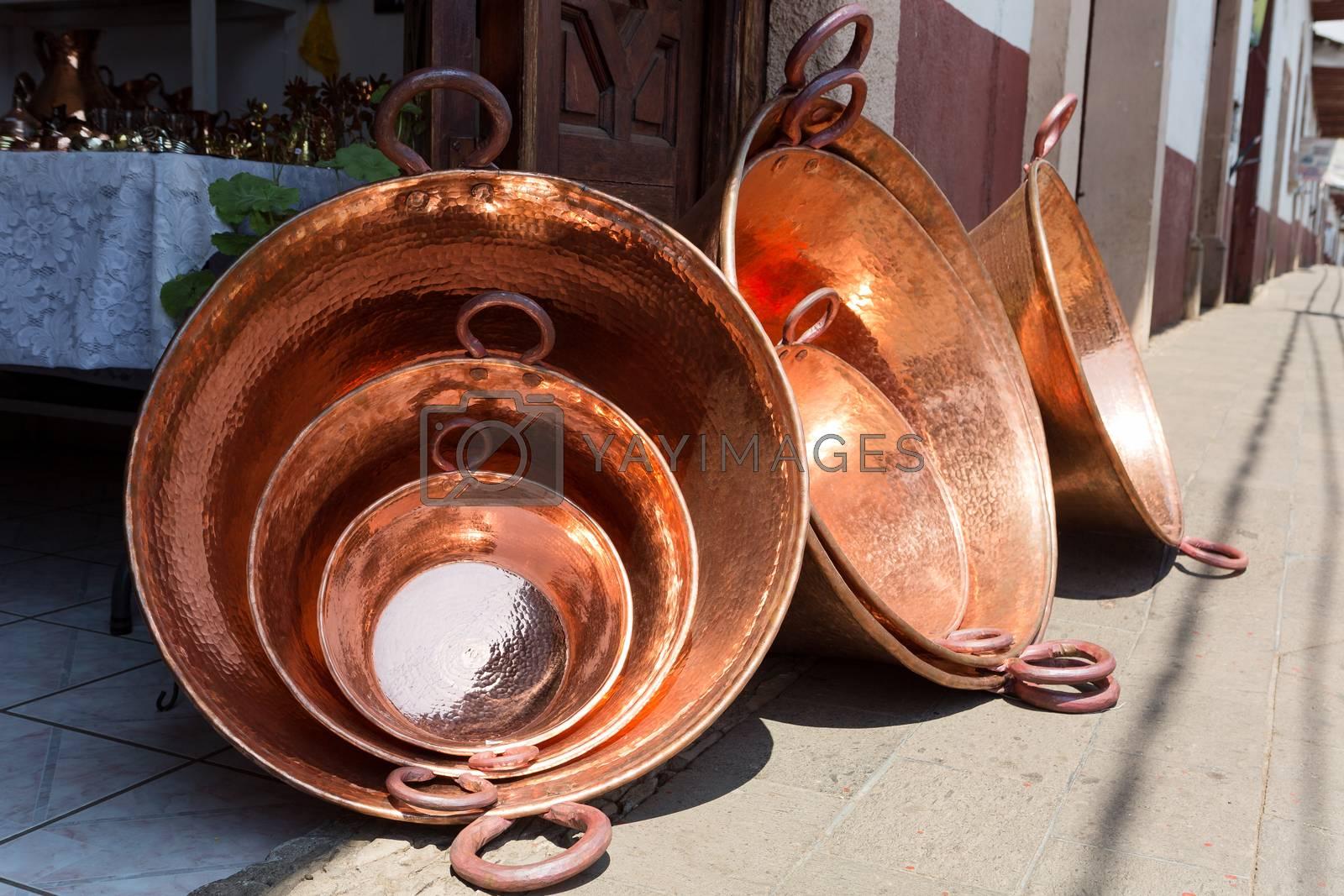 large copper vessels in Santa Clara del Cobre, Mexico