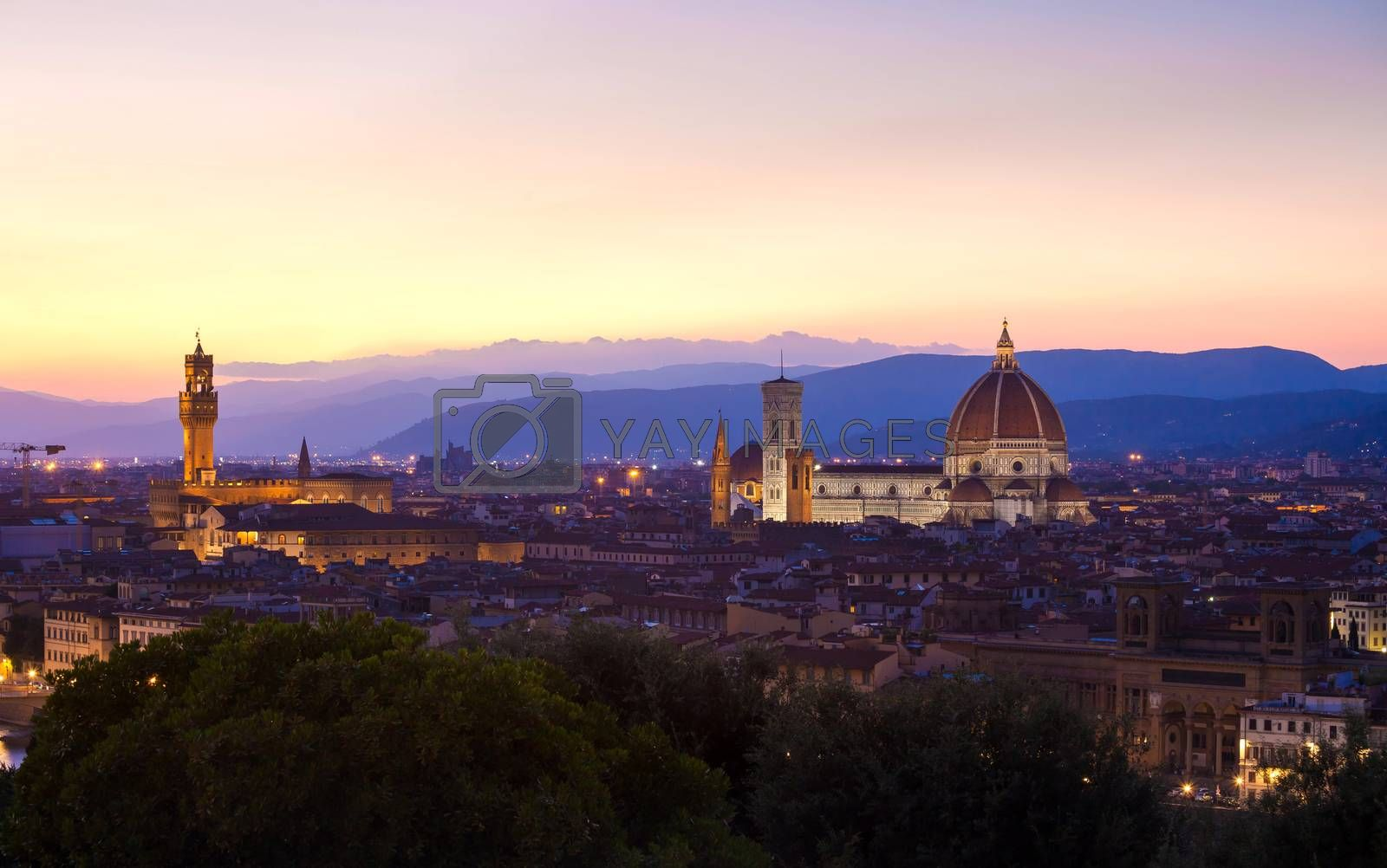 Florence cityscape at dawn, Italy