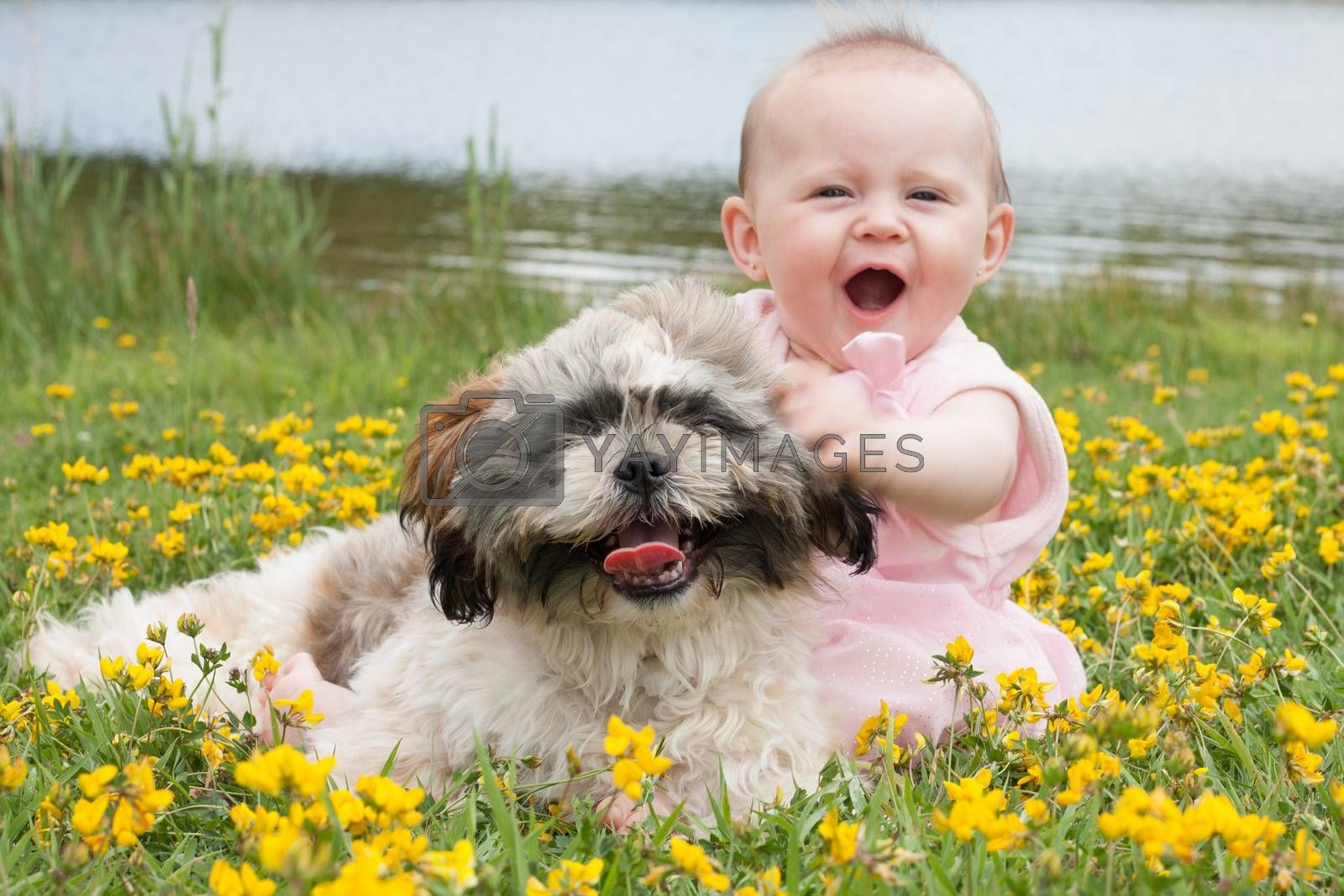 Happy baby and puppy by DNFStyle