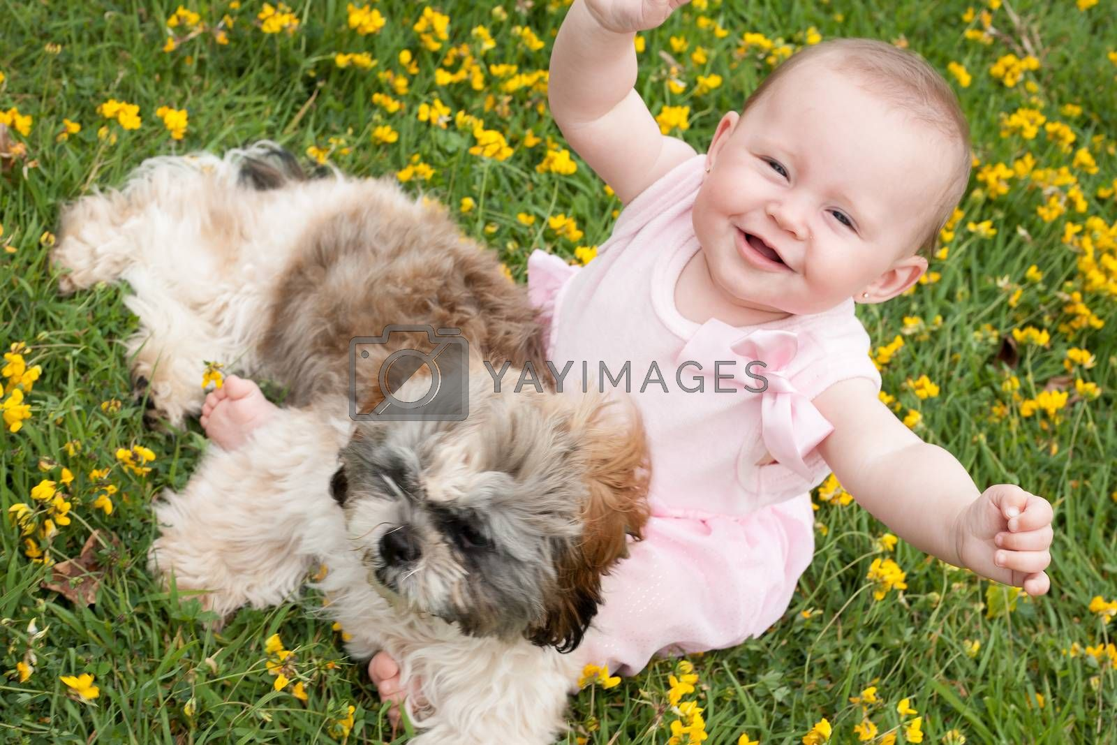 Happy baby and a puppy by DNFStyle