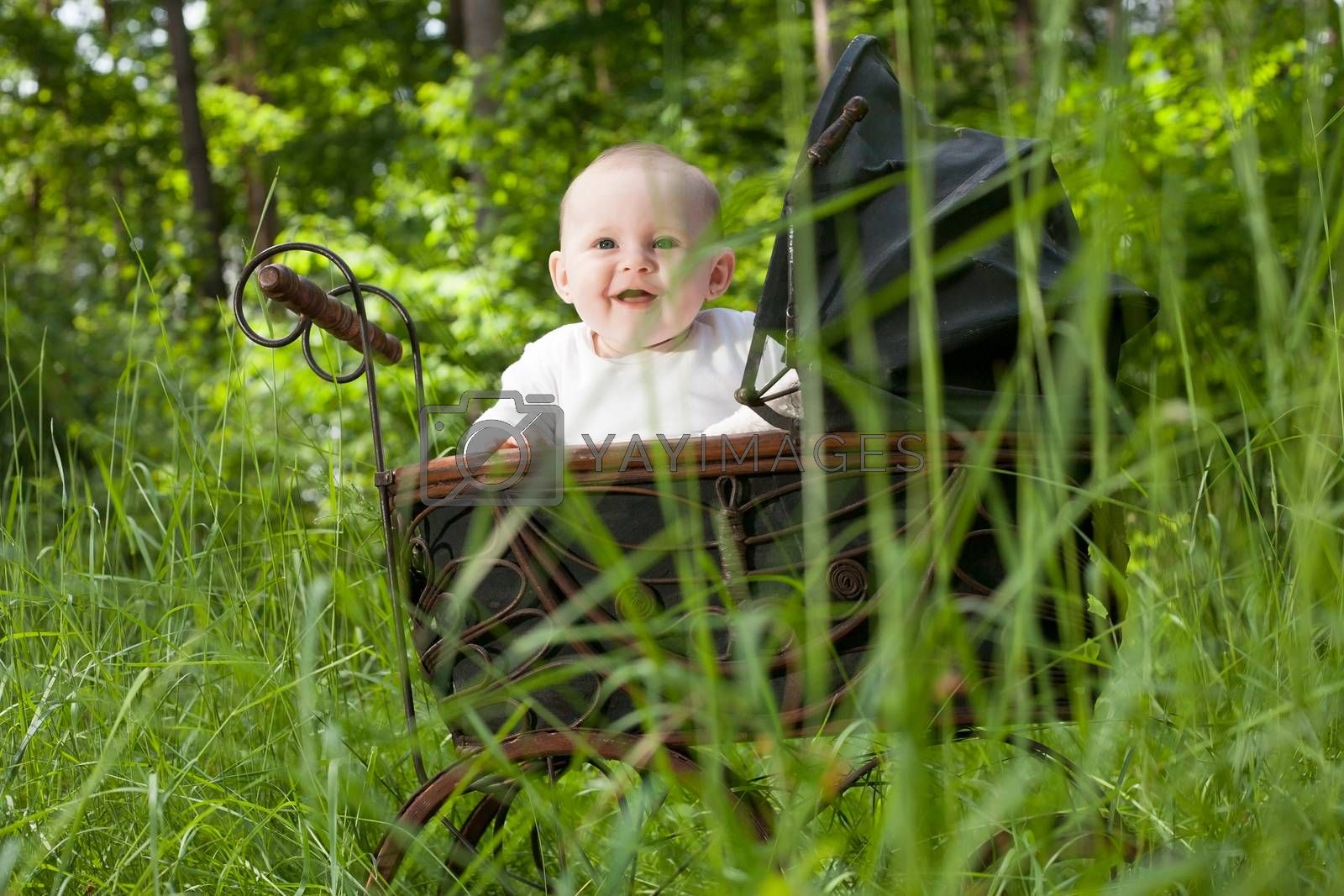 Smiling baby in nature by DNFStyle