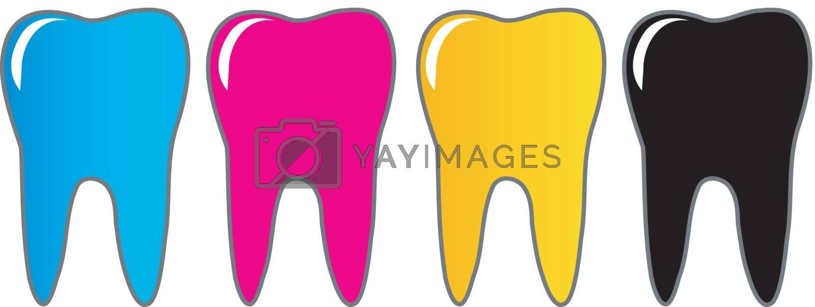 CMYK tooth logo for dentist