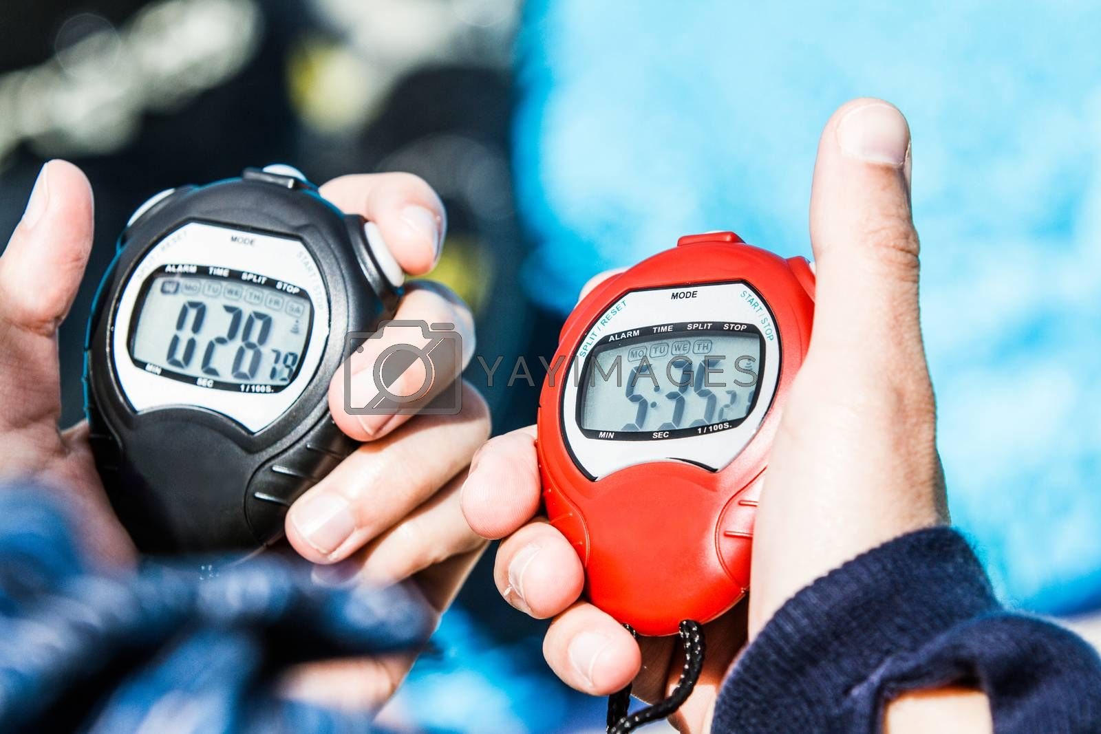 Official Chrono of a Freediving AIDA Performance (on the right) and of the resting period of 30 seconds before the Judge can give the Results