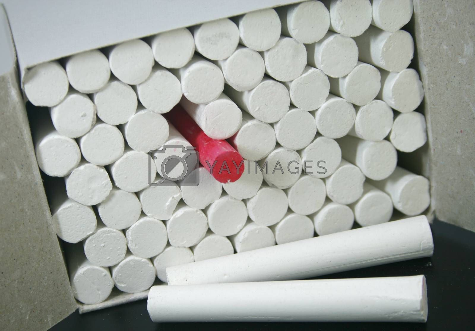 Photo of White chalks in a box