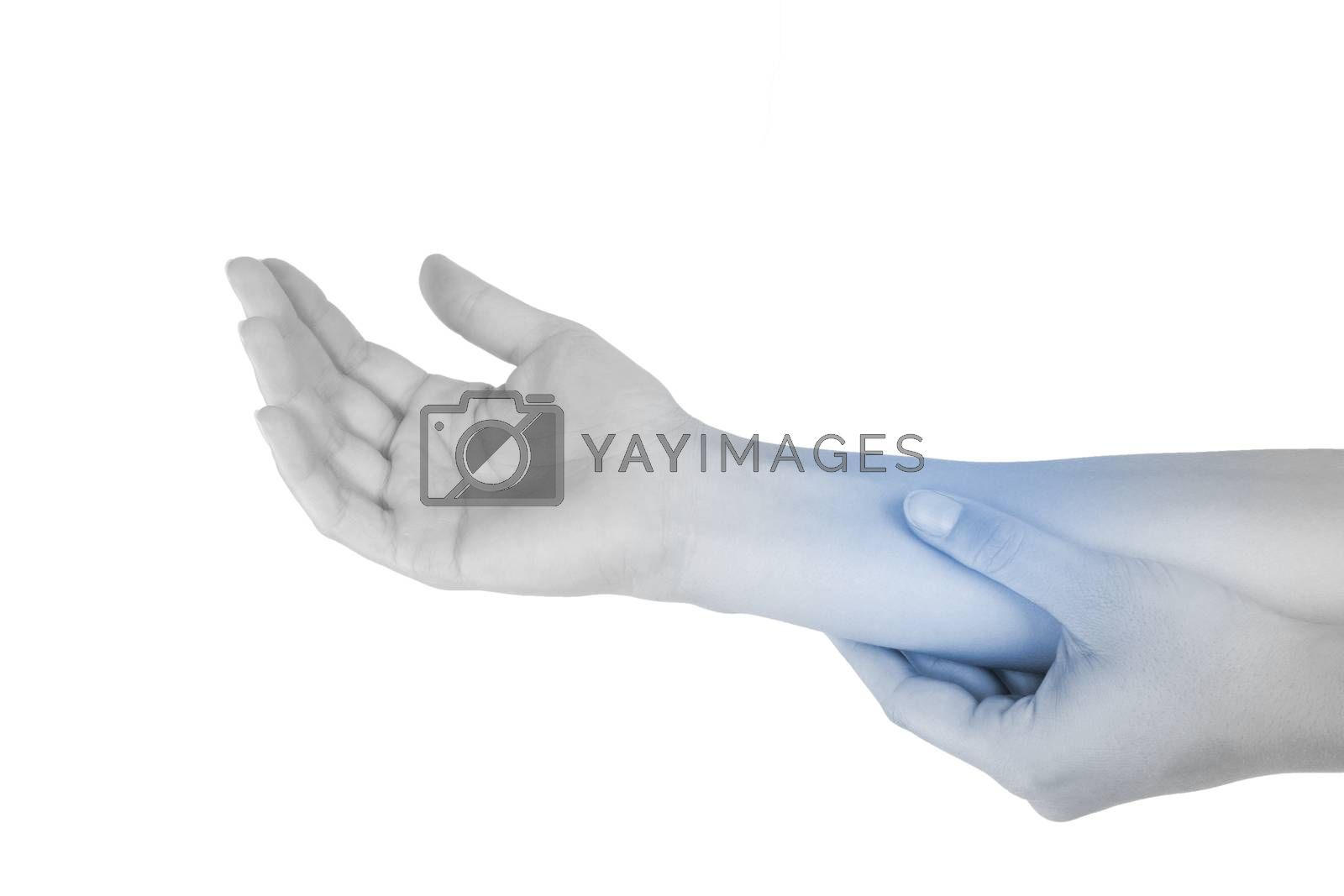 Mouse elbow. Repetitive stress injury. Forearm muscle strain. Female hand touching forearm isolated on white background.