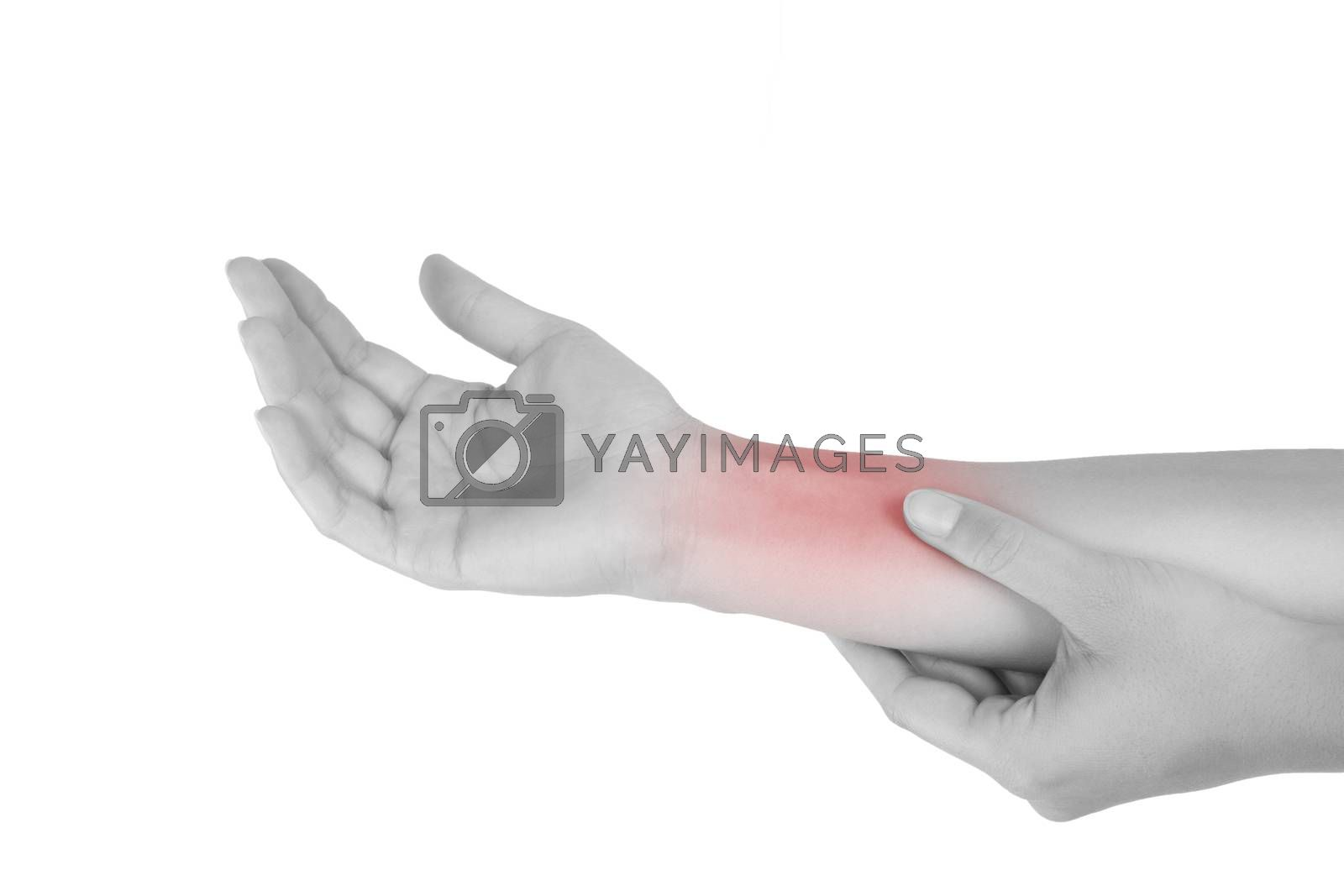 Forearm muscle strain. Female hand touching forearm isolated on white background.