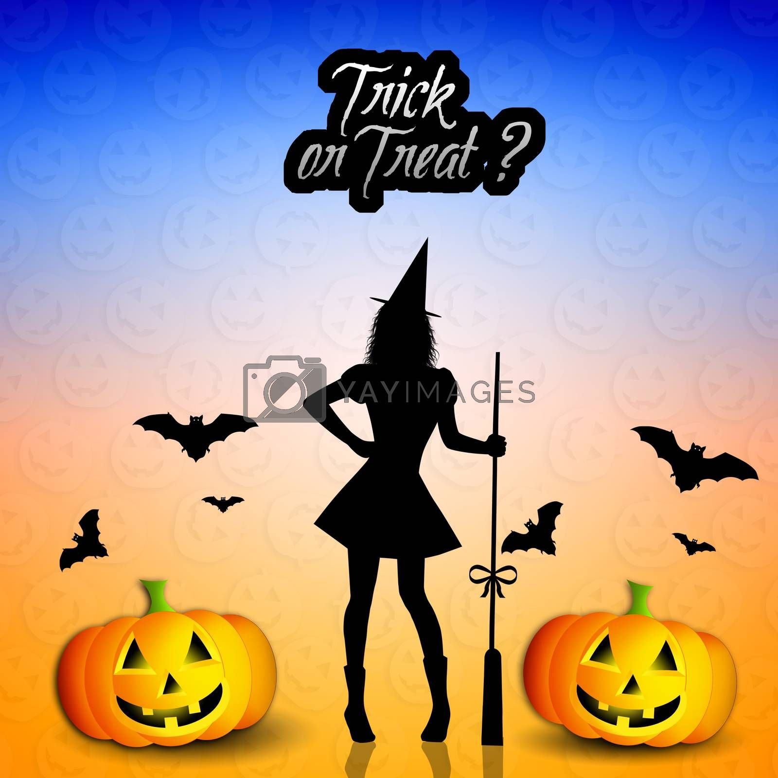Witch with pumpkins for Halloween