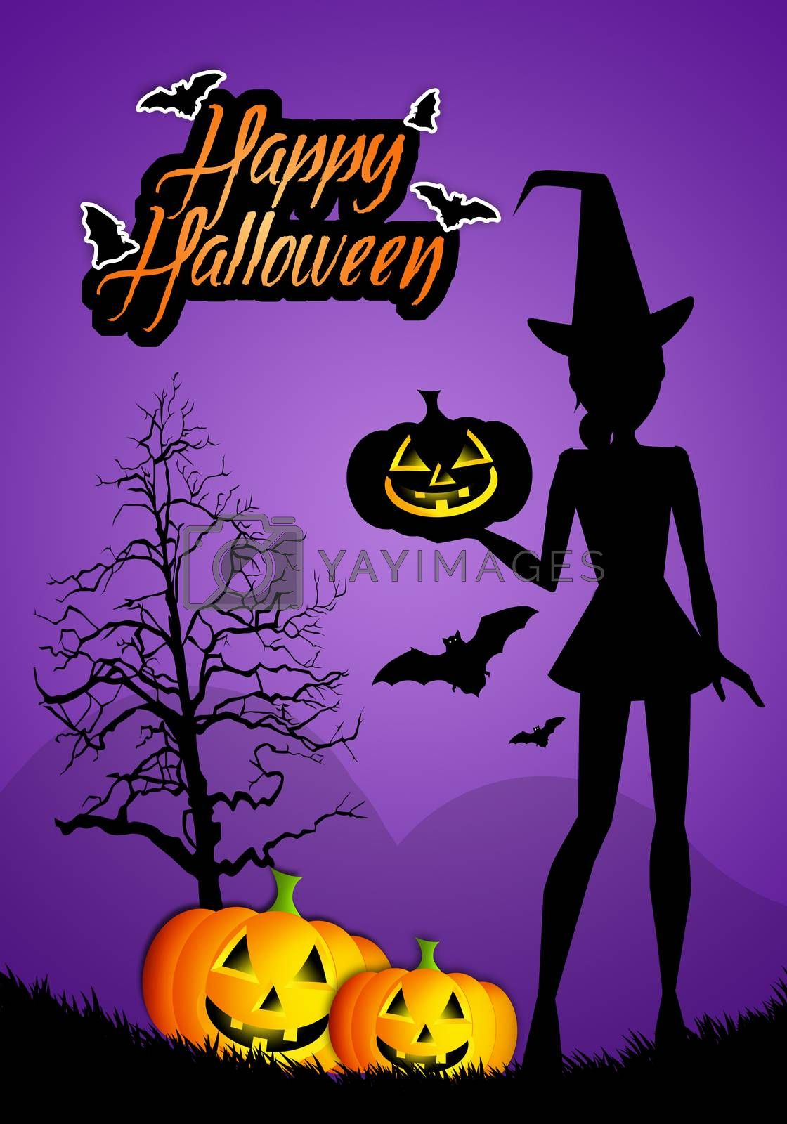 illustration of witch with pumpkin for Happy Halloween