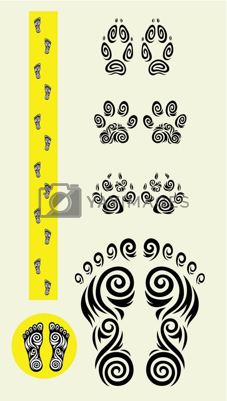 Track kick ornament set, animal and people track kick, art vector design