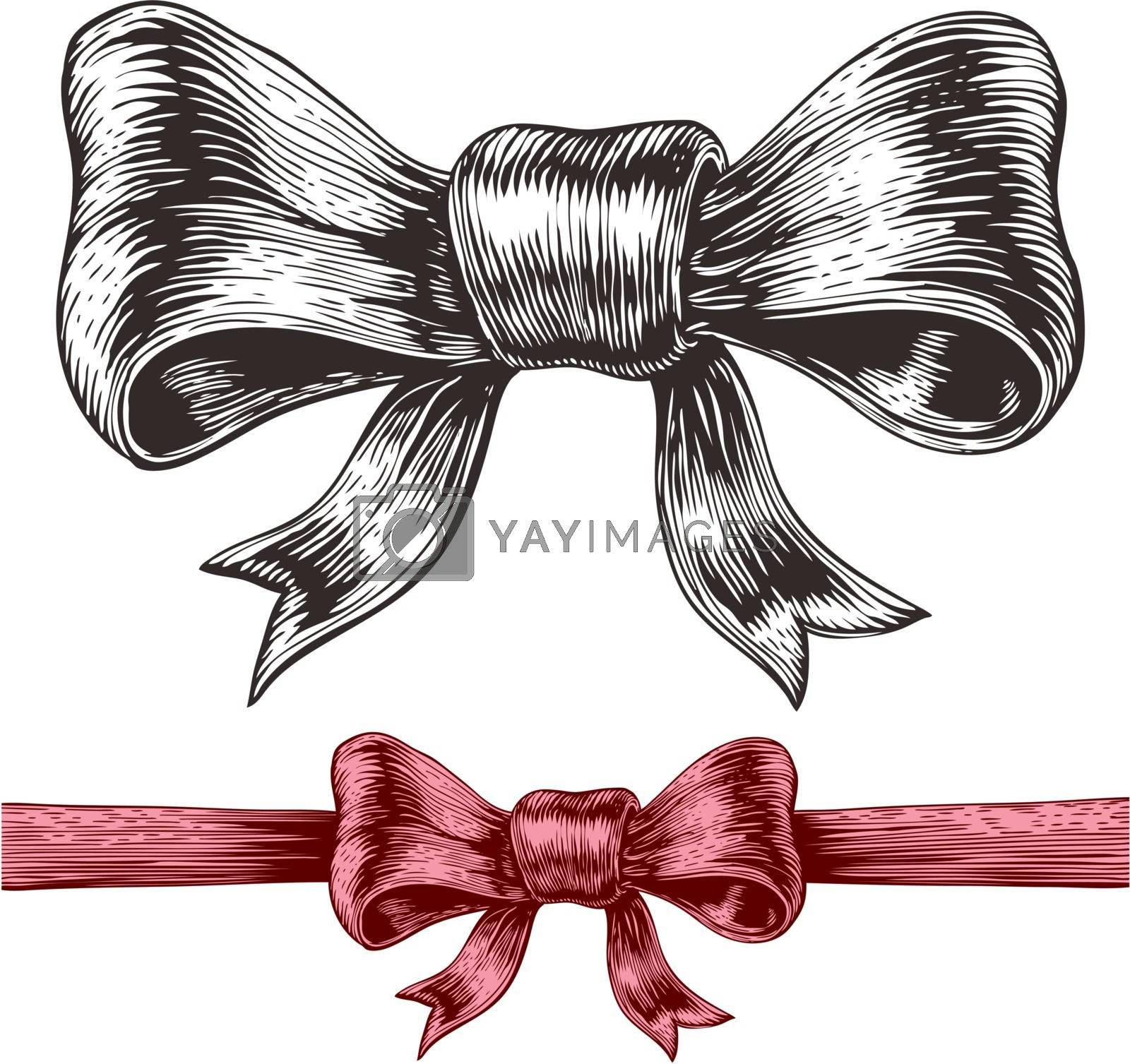 An engraving style drawing of a bow. Eps8. CMYK. Global colors. Gradients free.