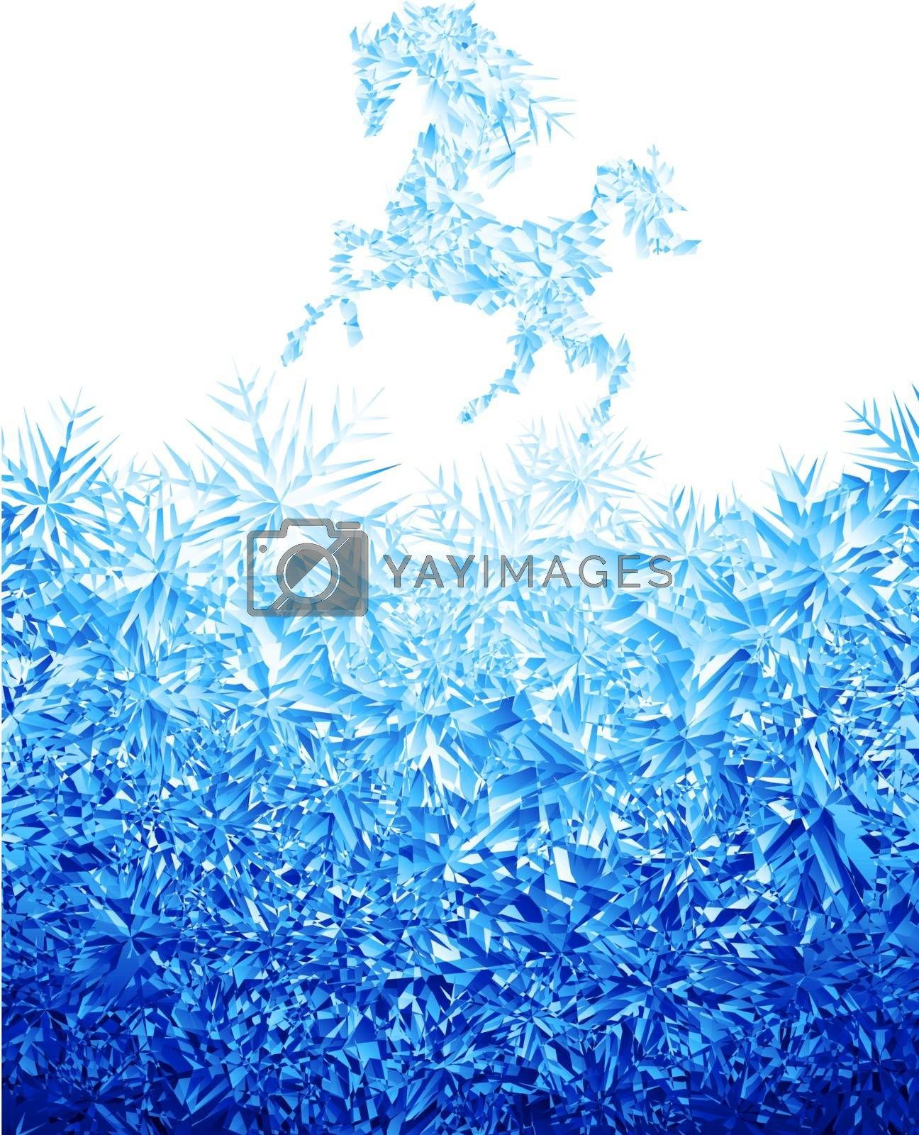Decorative silhouette horse on ice background. Eps8. RGB. Global colors. Gradients used.