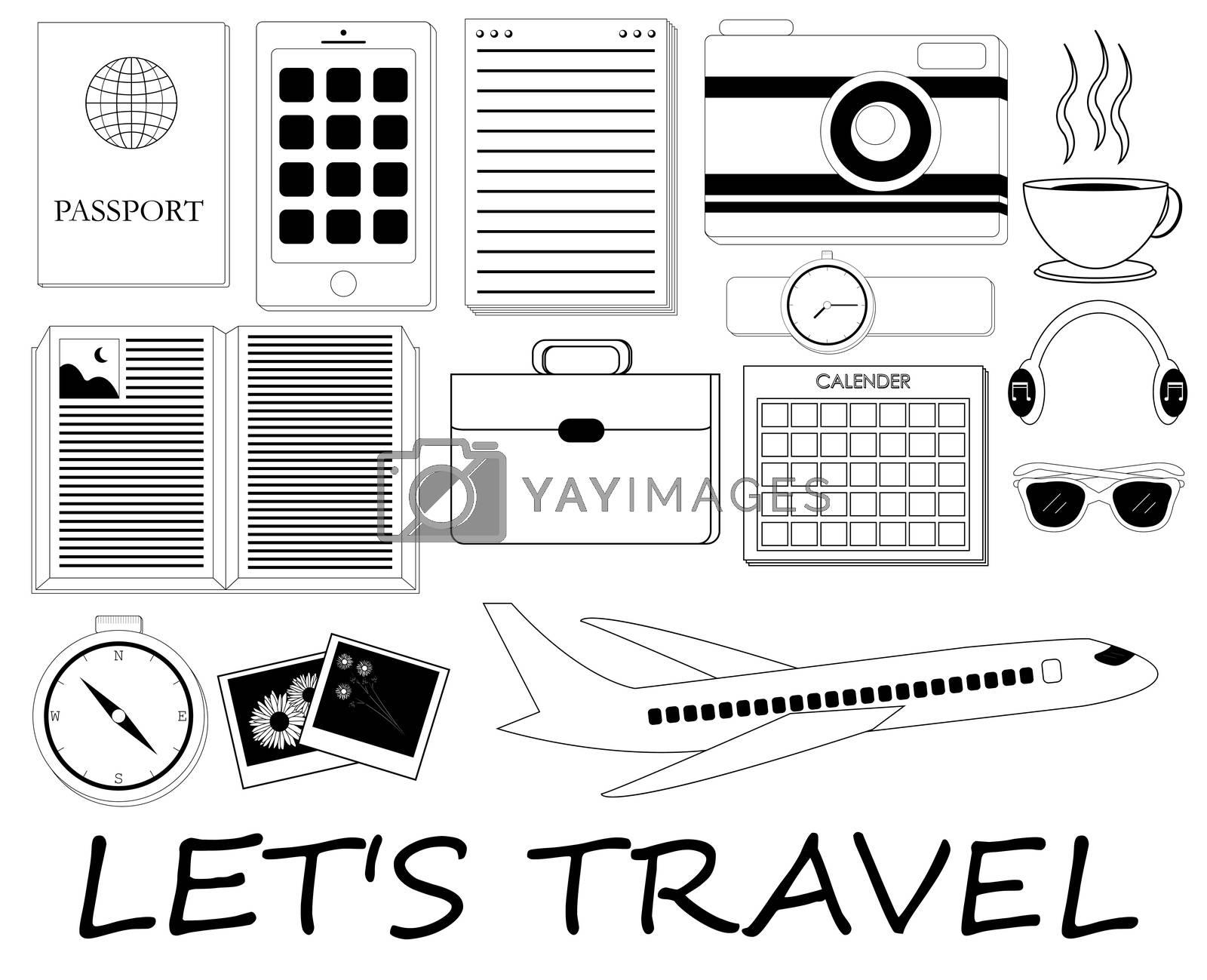 black and white travel icon set