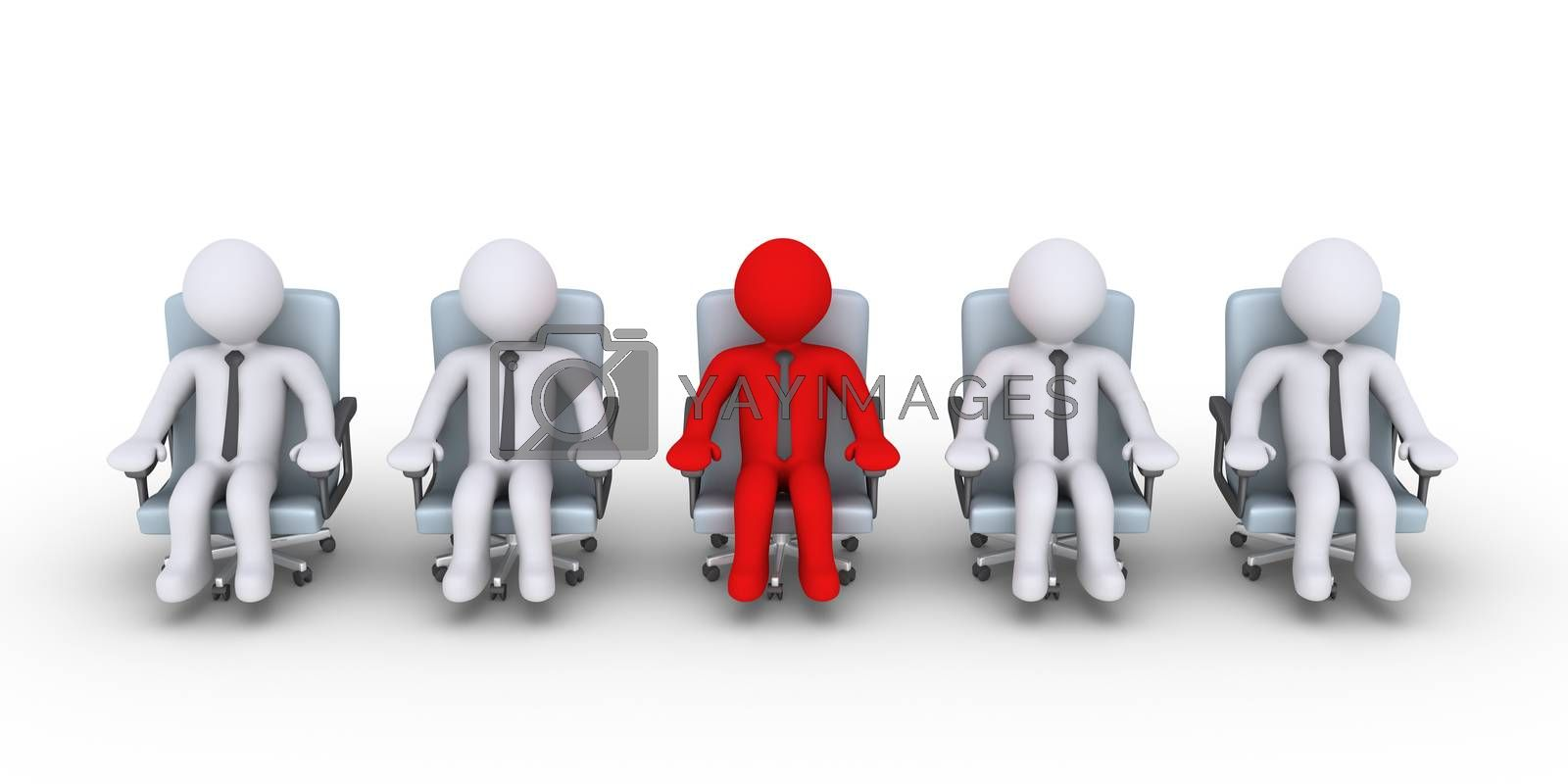 3d businessmen are sitting but one is different