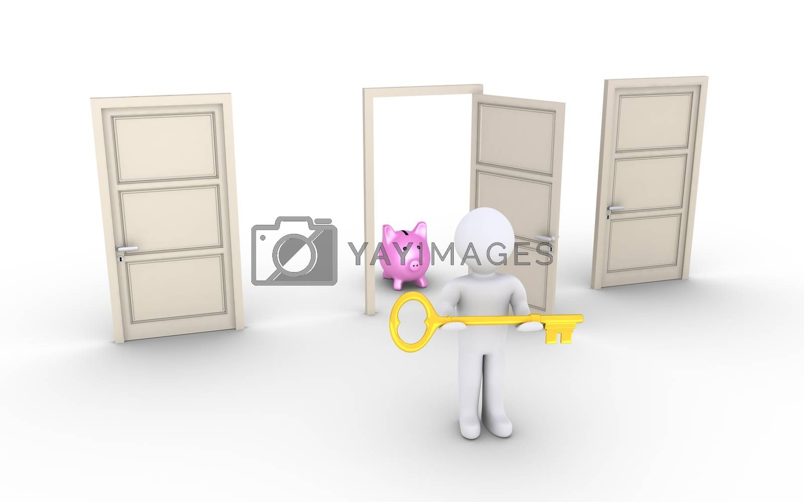 3d person holding a key is in front of doors and one leads to earnings