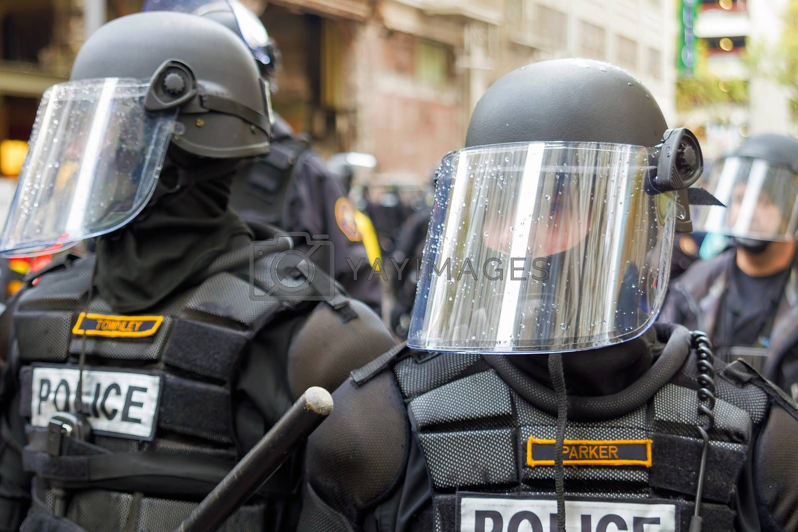PORTLAND, OREGON - NOVEMBER 17, 2011: Police in Riot Gears Closeup in Downtown Portland, Oregon during a Occupy Portland Protest Against Banks on the first anniversary of Occupy Wall Street