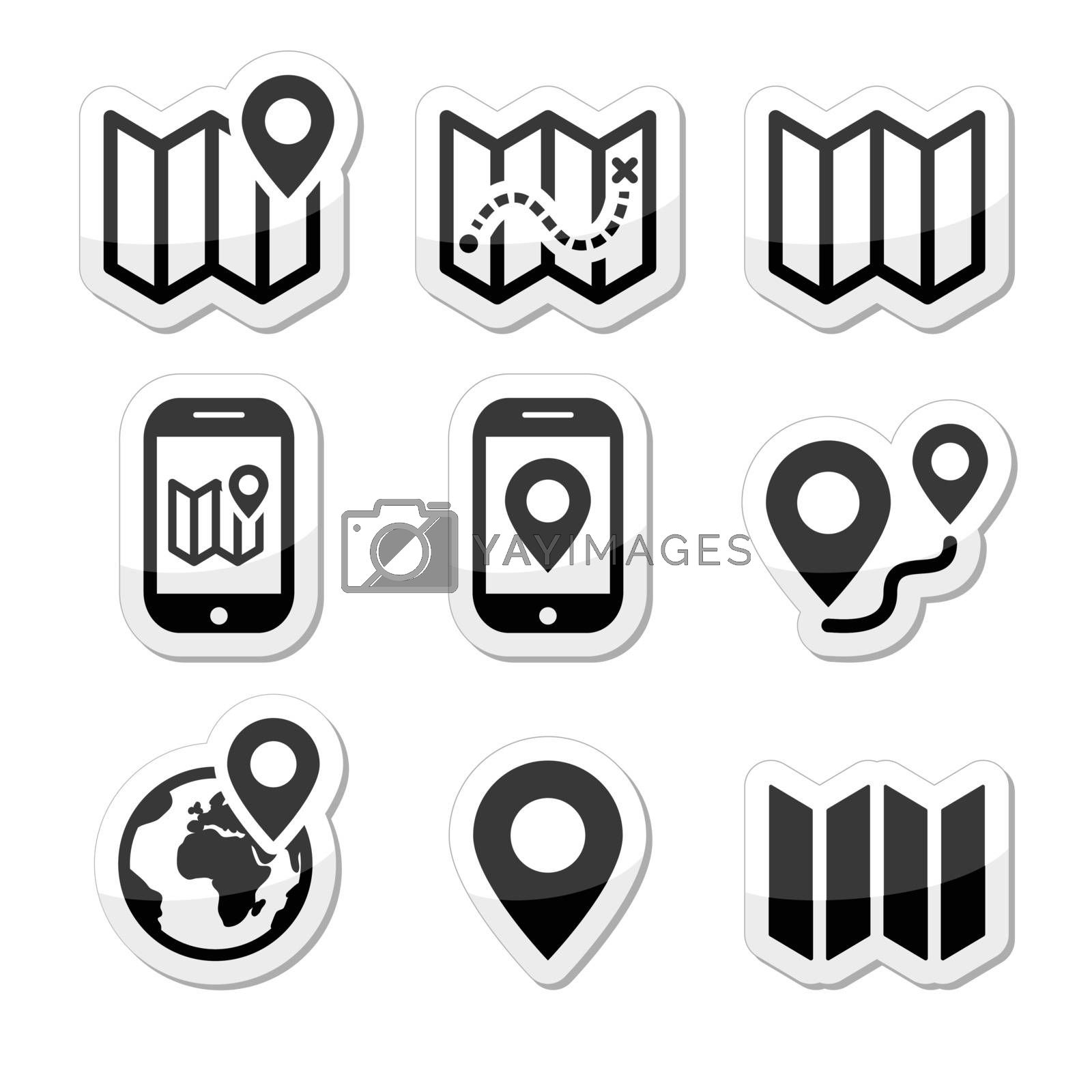 Map and navigation vector icons set isolated on white
