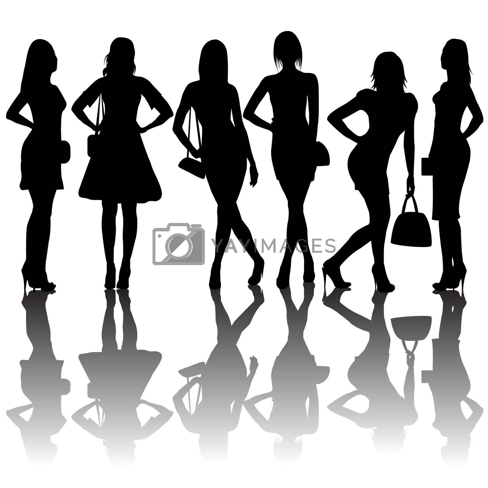Fashion silhouettes of women