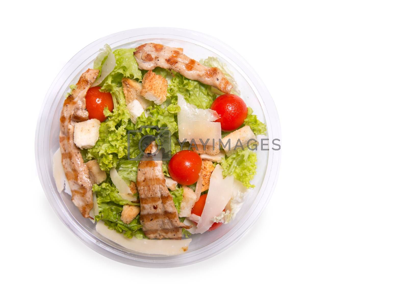 Caesar salad with grilled chicken meat, top view isolated on white background