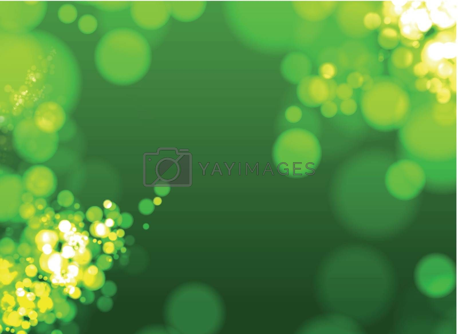Green nature background with defocused lights - bokeh effect. Vector illustration