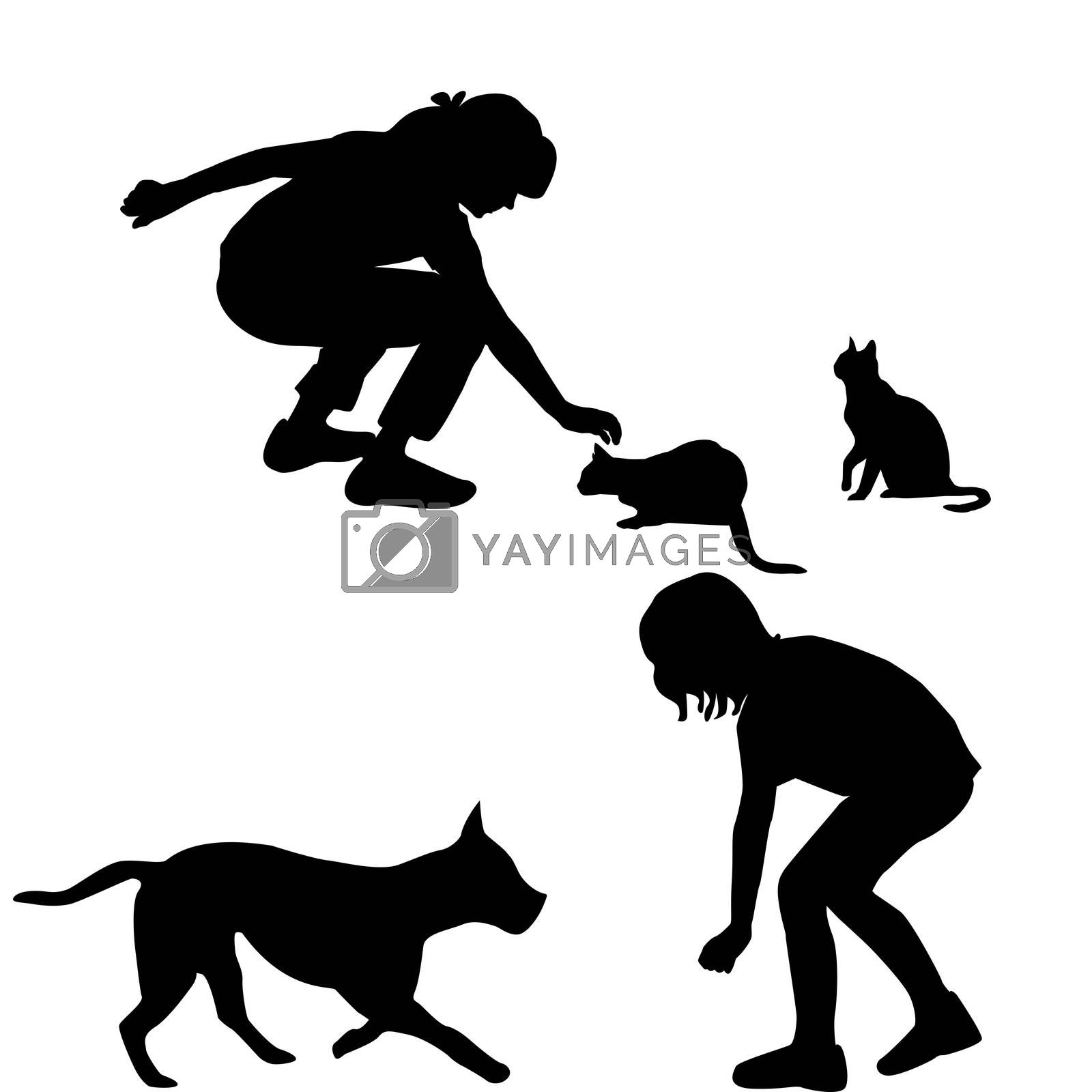 Children silhouettes playing with pets by hibrida13