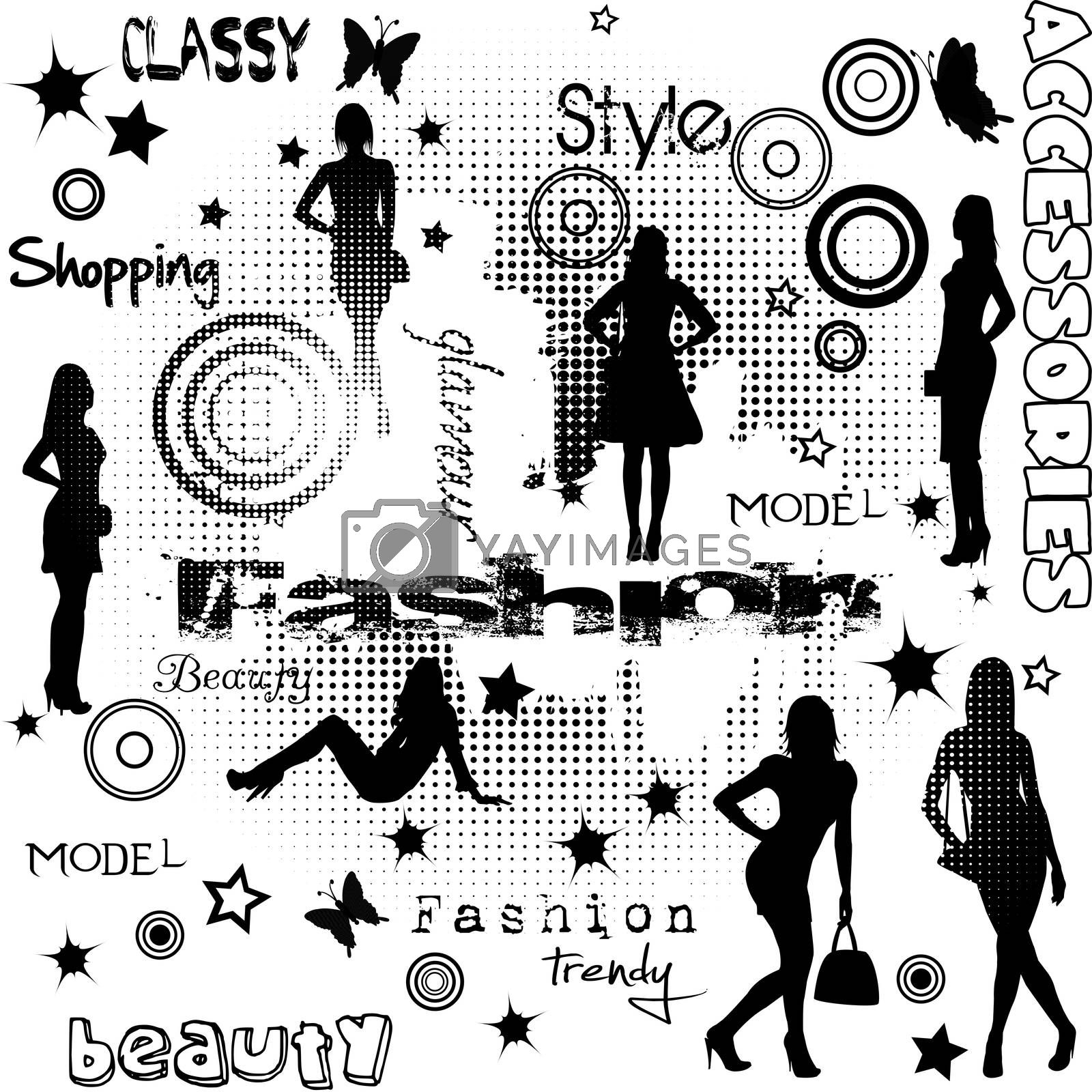 Fashion advertisement with women silhouettes