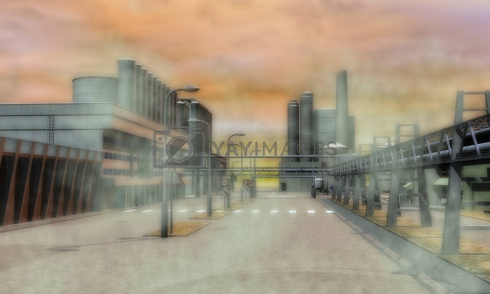 Digital Illustration of a Surreal Industrial Area