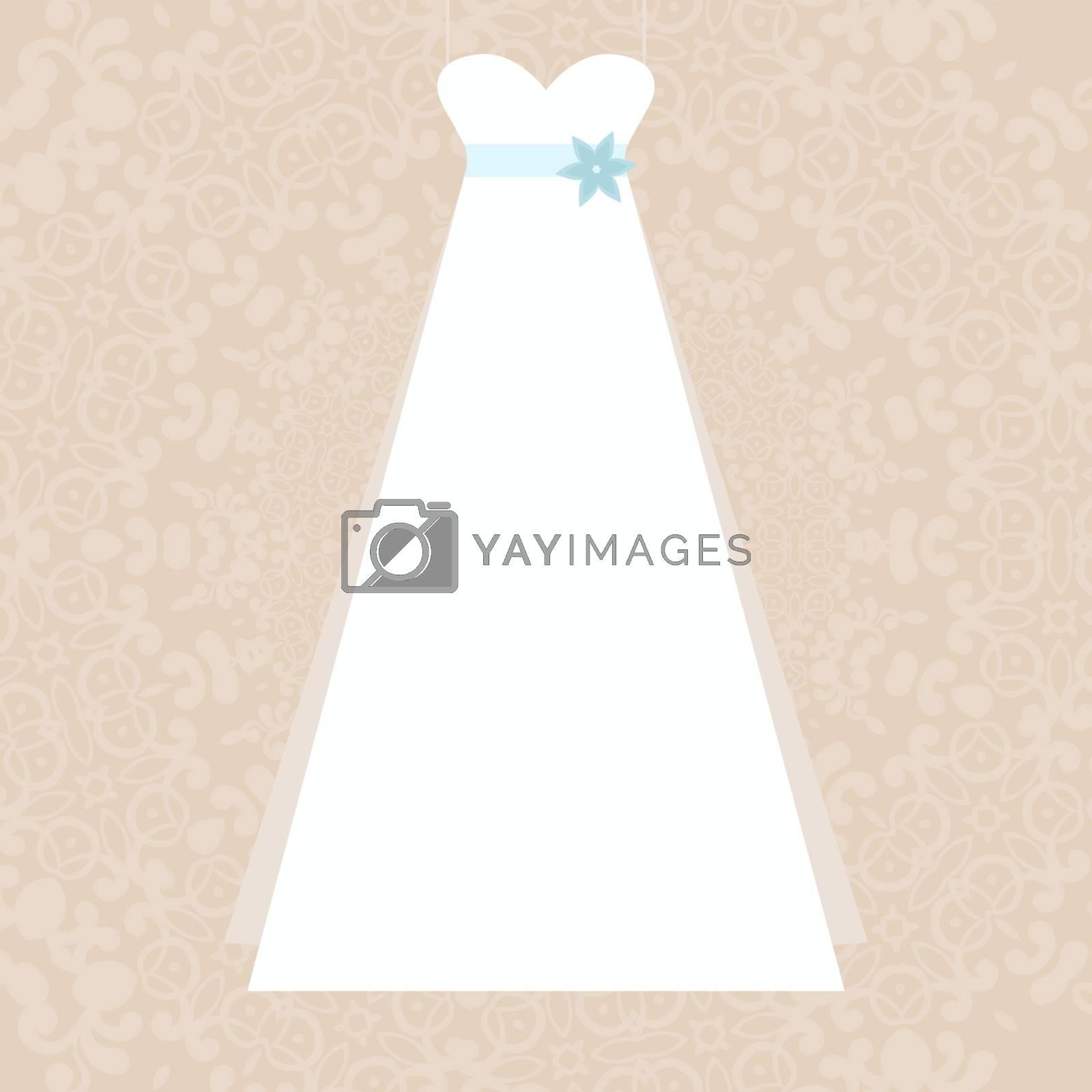 Elegant white dress illustration - symbol of a wedding on elegant lace background made in vector. Bridal illustration, Invitation template.