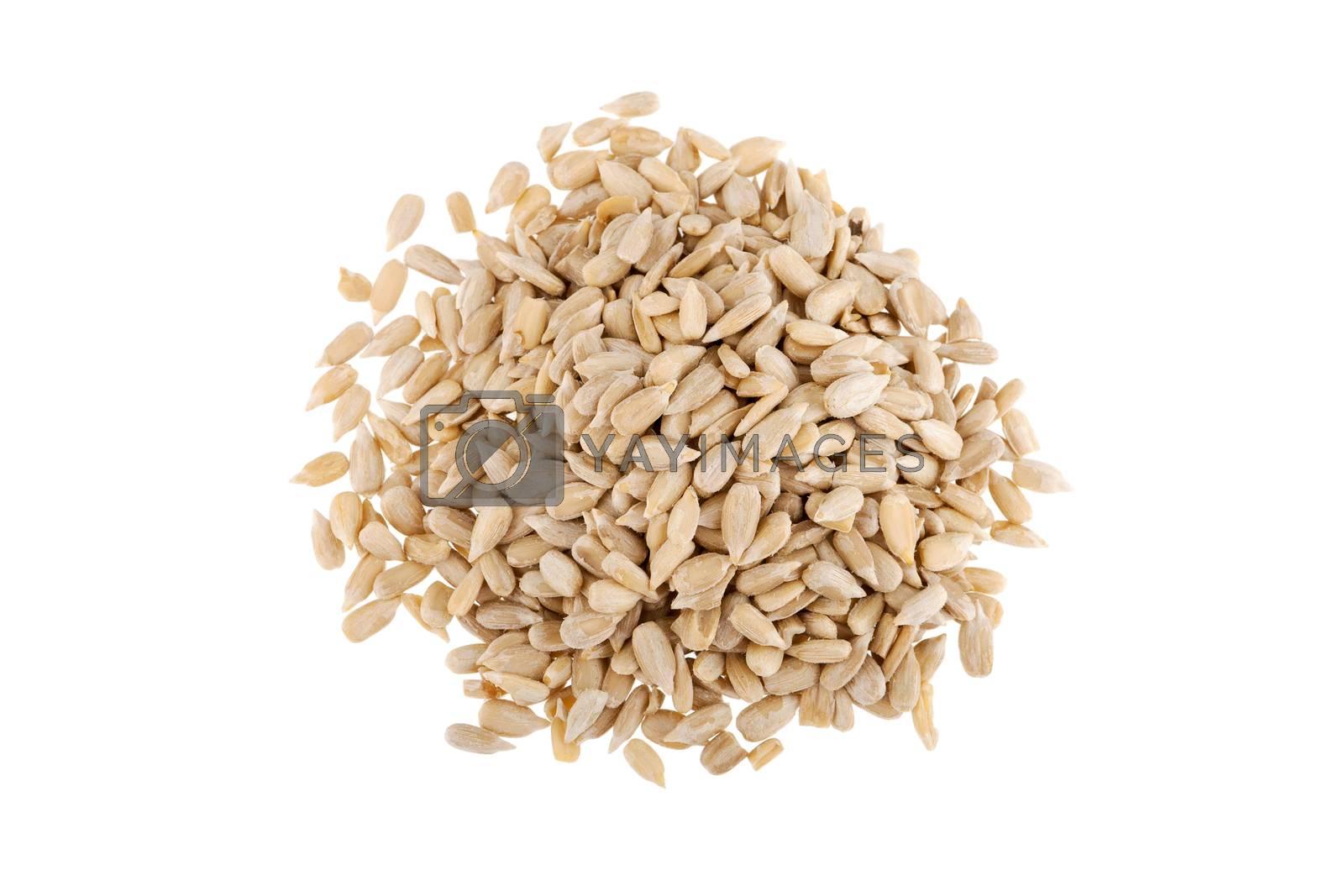 Sunflower seeds - isolated on white background