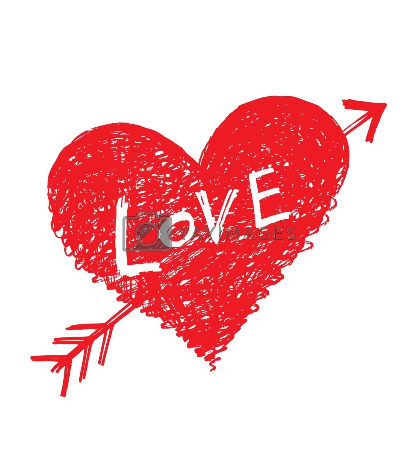 "Vector abstract heart pierced by an arrow with word ""Love"""