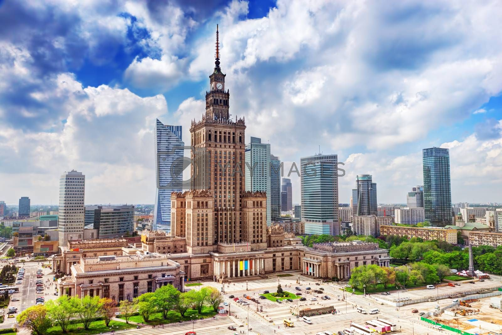 Royalty free image of Warsaw, Poland. Palace of Culture and Science and skyscrapers, downtown. by photocreo