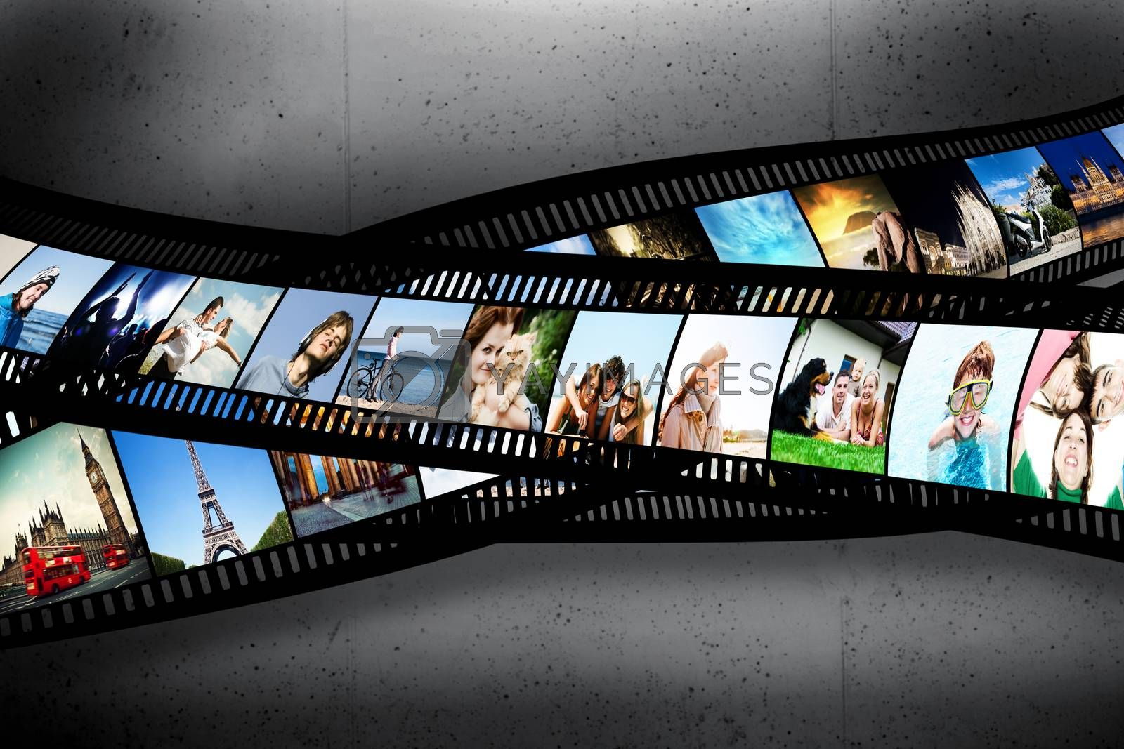 Royalty free image of Film strip with colorful, vibrant photographs on grunge wall. Various themes by photocreo